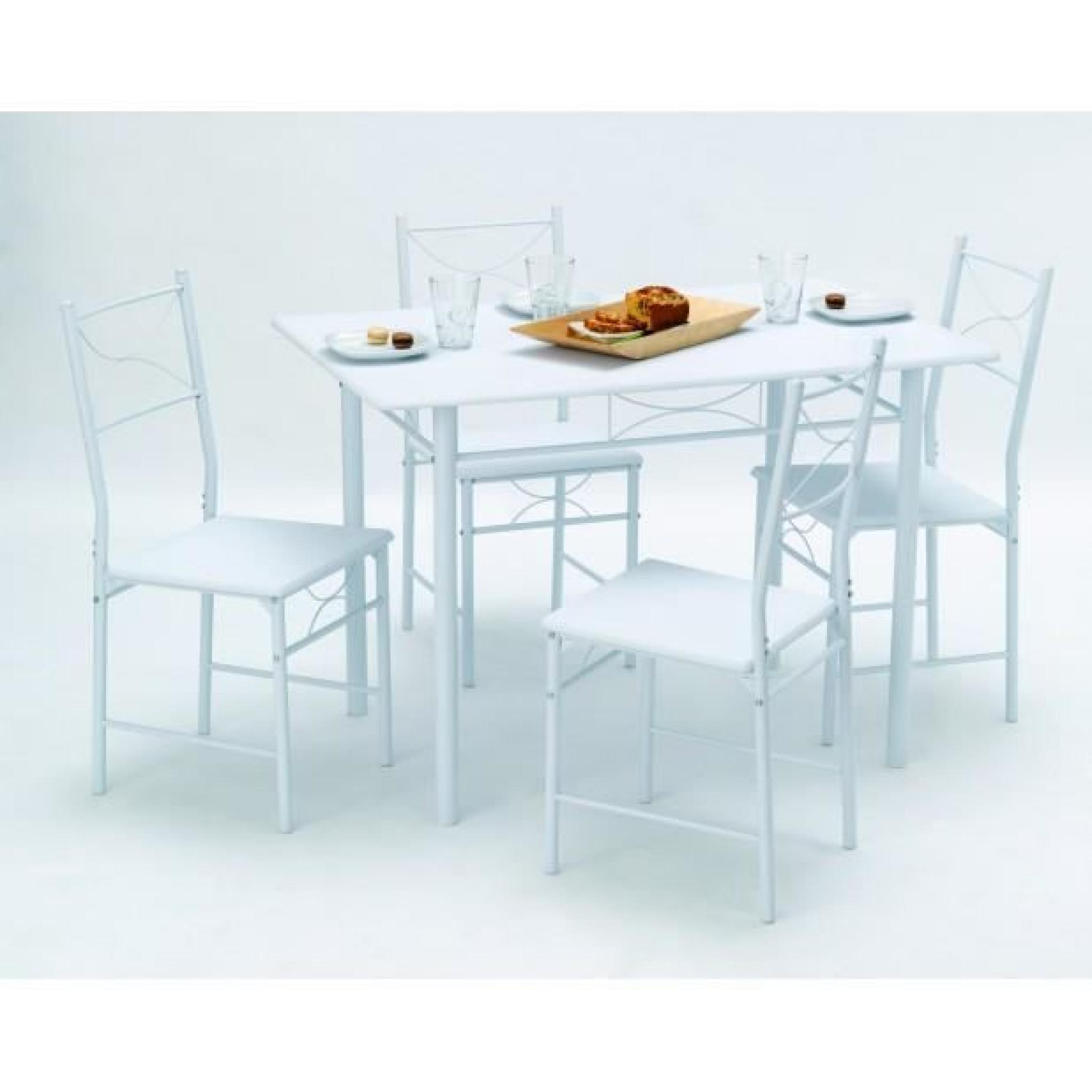 SET TABLE RECTANGULAIRE 110X70 + 4 CHAISES WHITNEY
