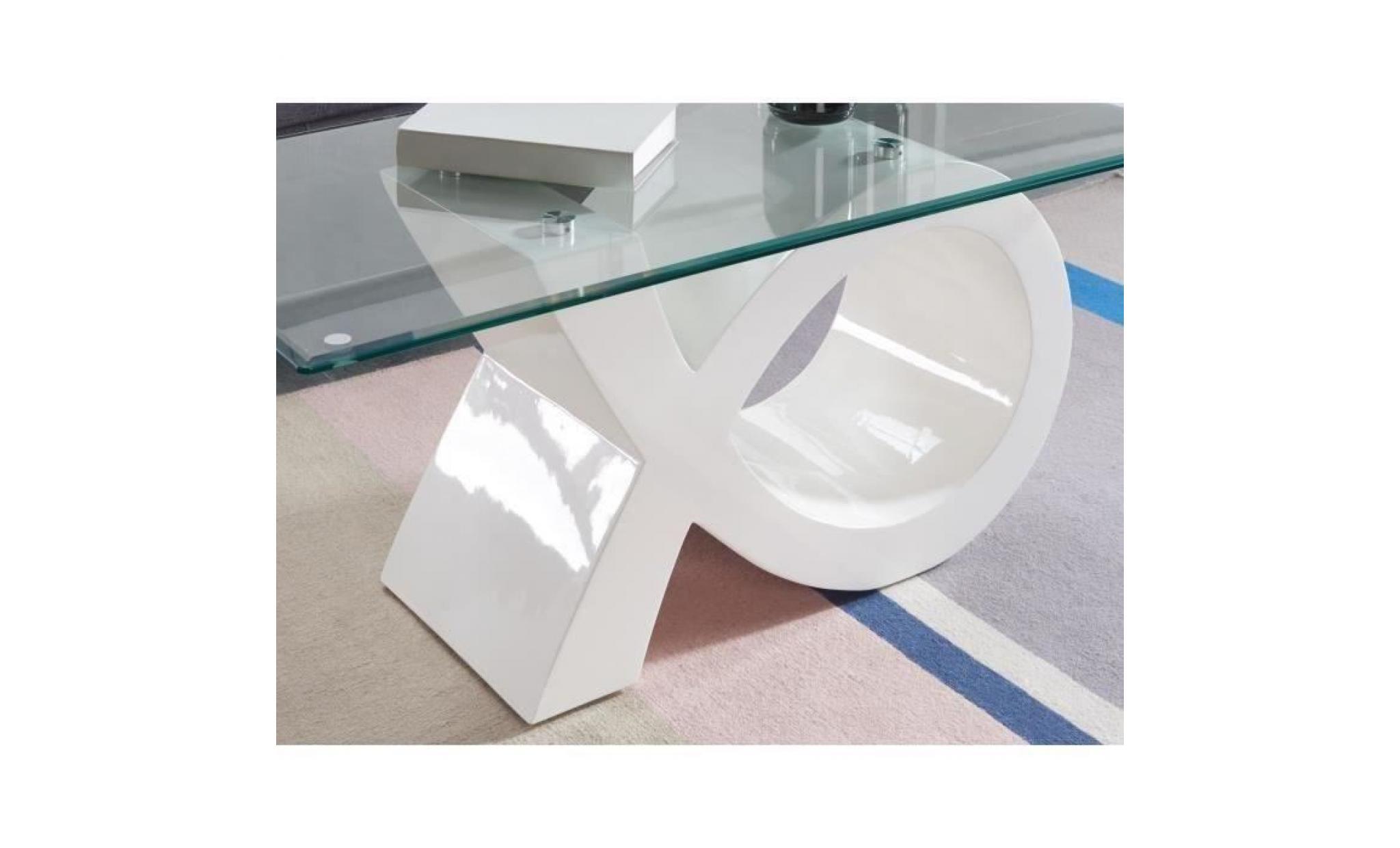 Sharon Table Basse En Verre Contemporain Laque Blanc Brillant 110x55cm