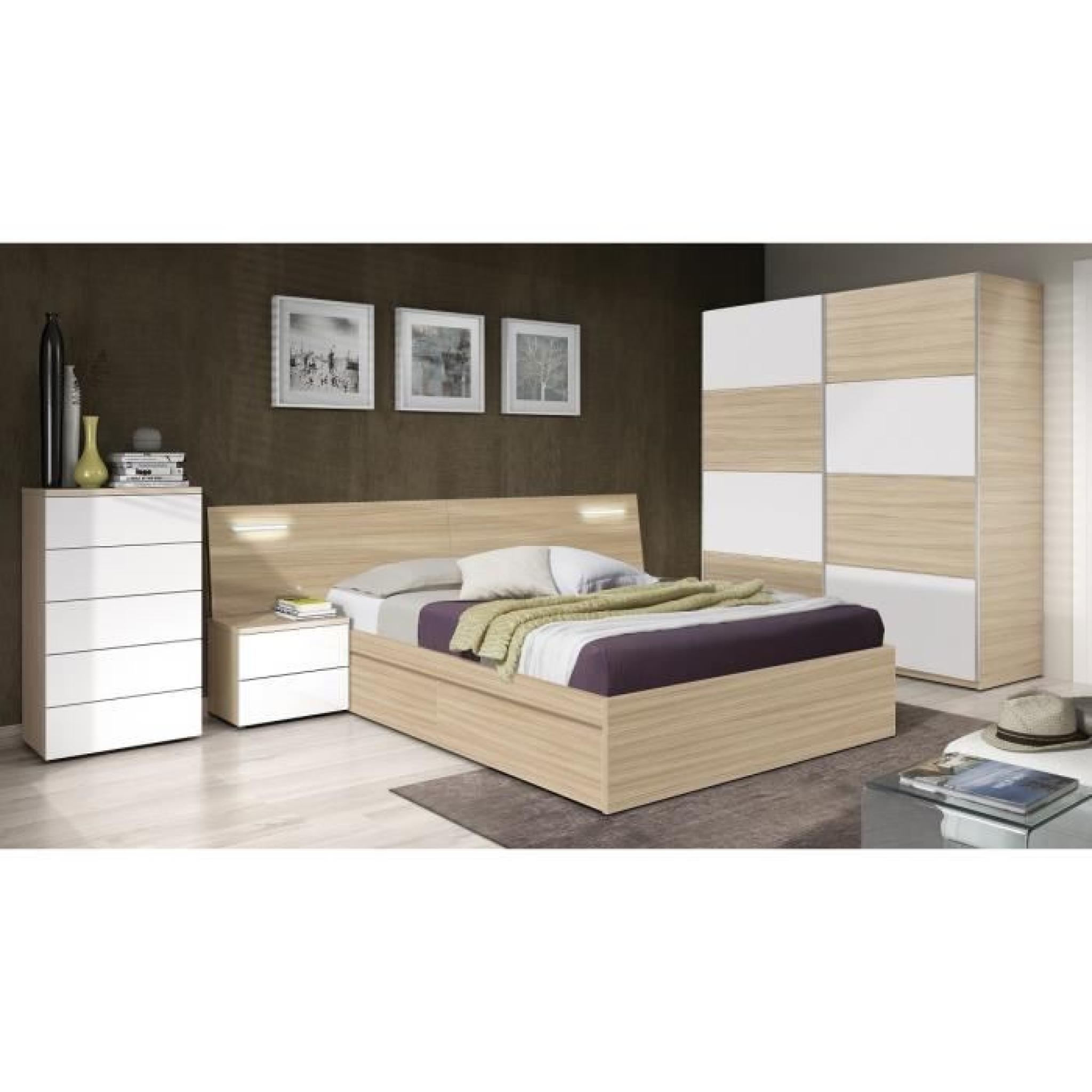 silvia t te de lit avec led 257 cm 2 chevets d cor bois et blanc brillant achat vente tete. Black Bedroom Furniture Sets. Home Design Ideas