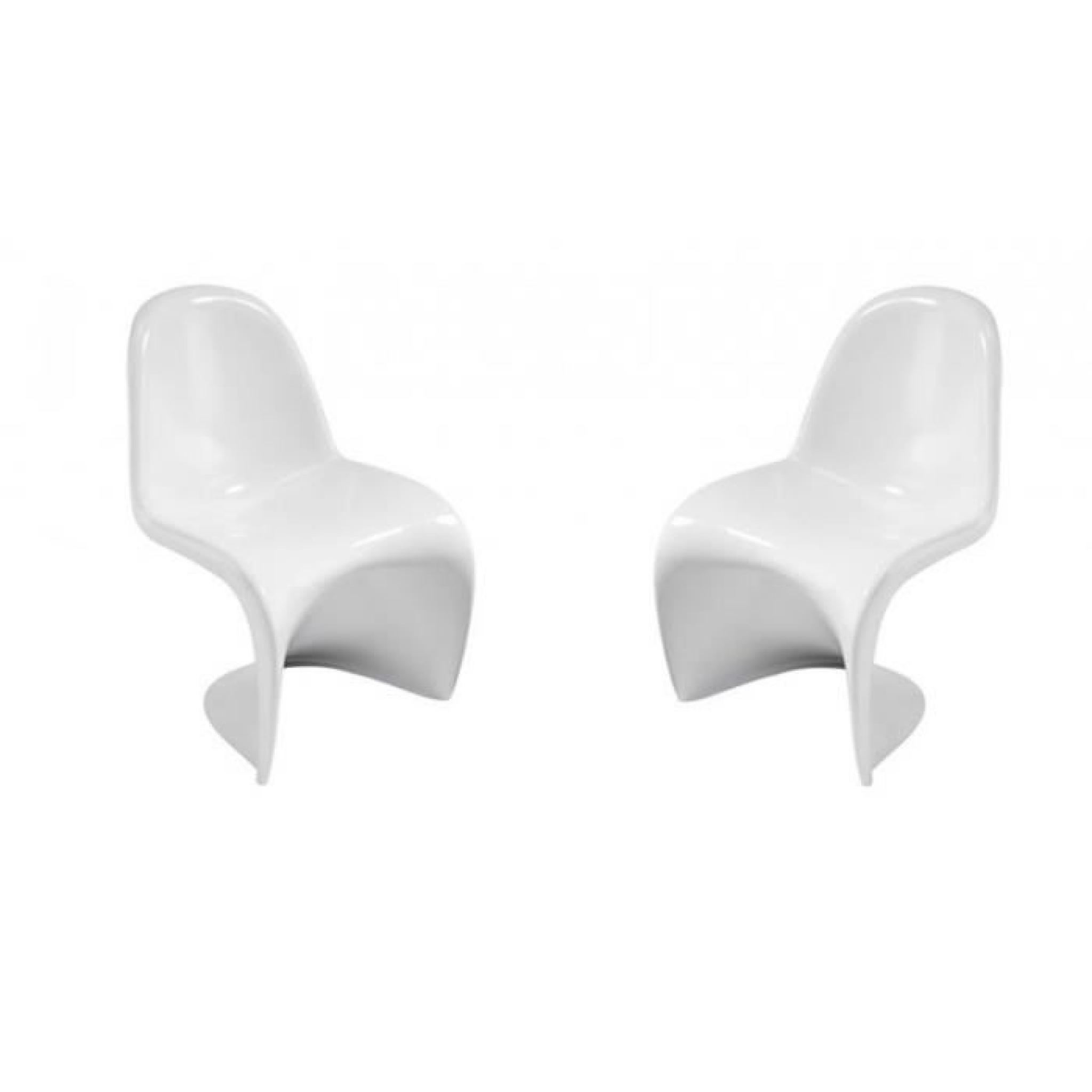 Slash blanche lot de 2 chaises design empilables achat - Chaises design blanche ...