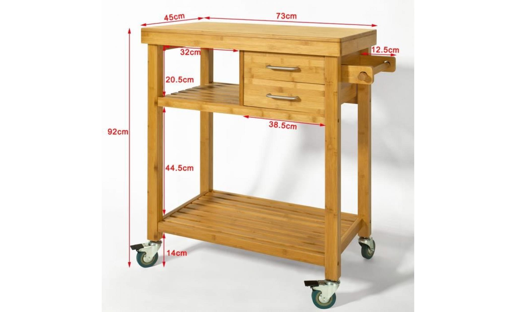 sobuy® fkw14 n meuble rangement cuisine roulant en bambou, chariot de  cuisine, desserte à roulettes, kitchen trolley