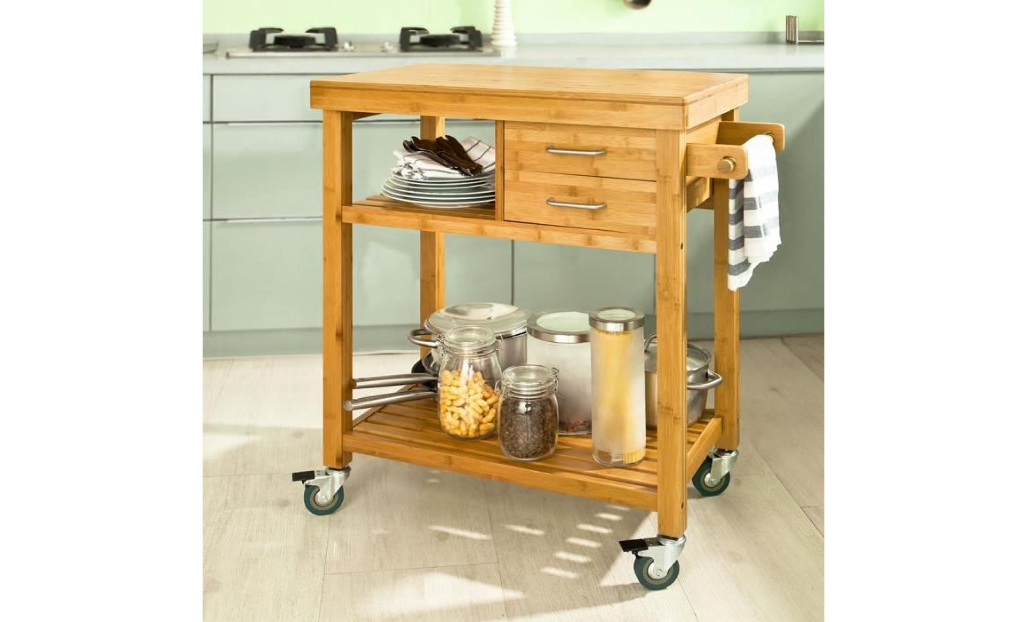 sobuy® fkw13 n meuble rangement cuisine roulant en bambou, chariot de  cuisine, desserte à roulettes, kitchen trolley