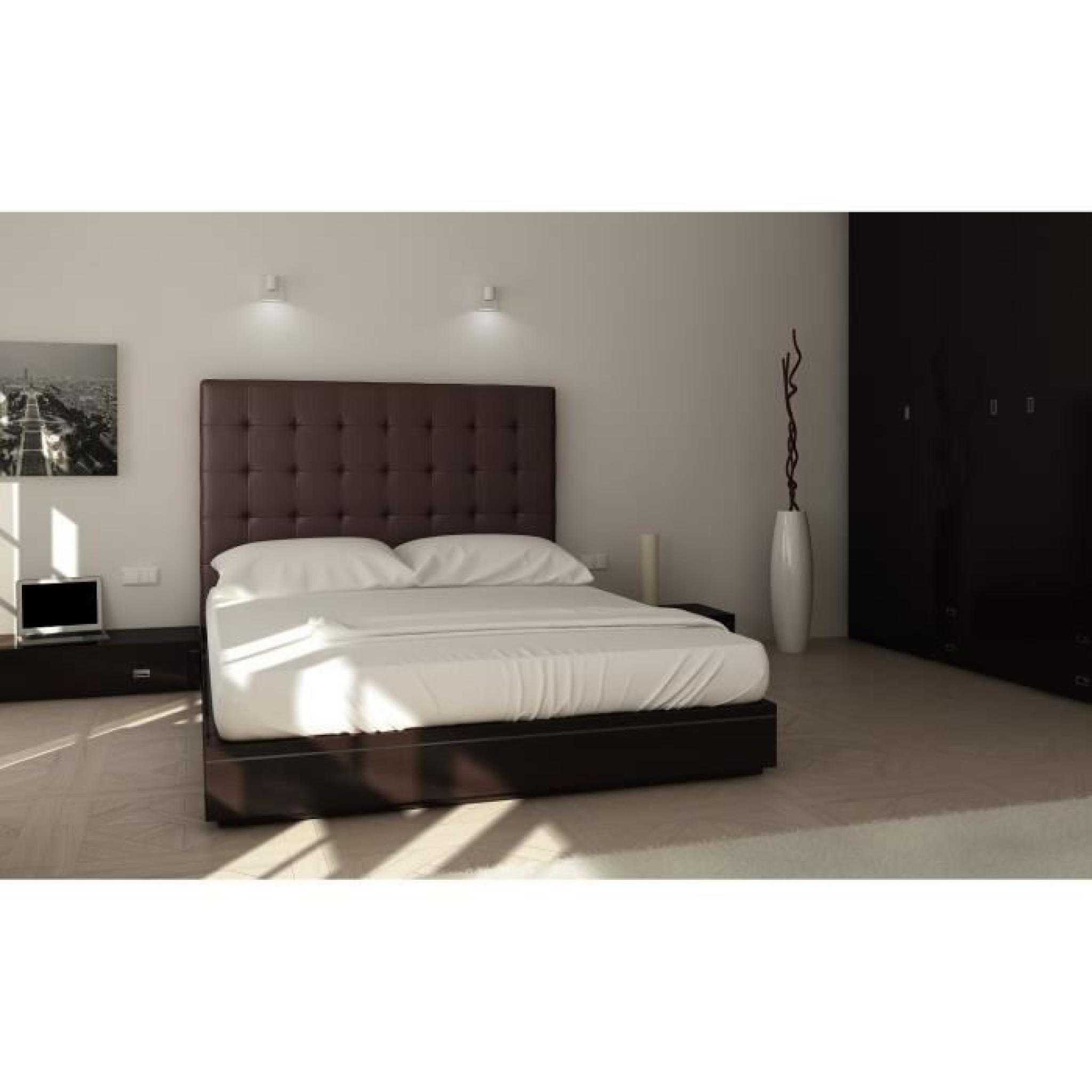 sogno t te de lit capitonn e 180 cm pu marron achat vente tete de lit pas cher couleur et. Black Bedroom Furniture Sets. Home Design Ideas
