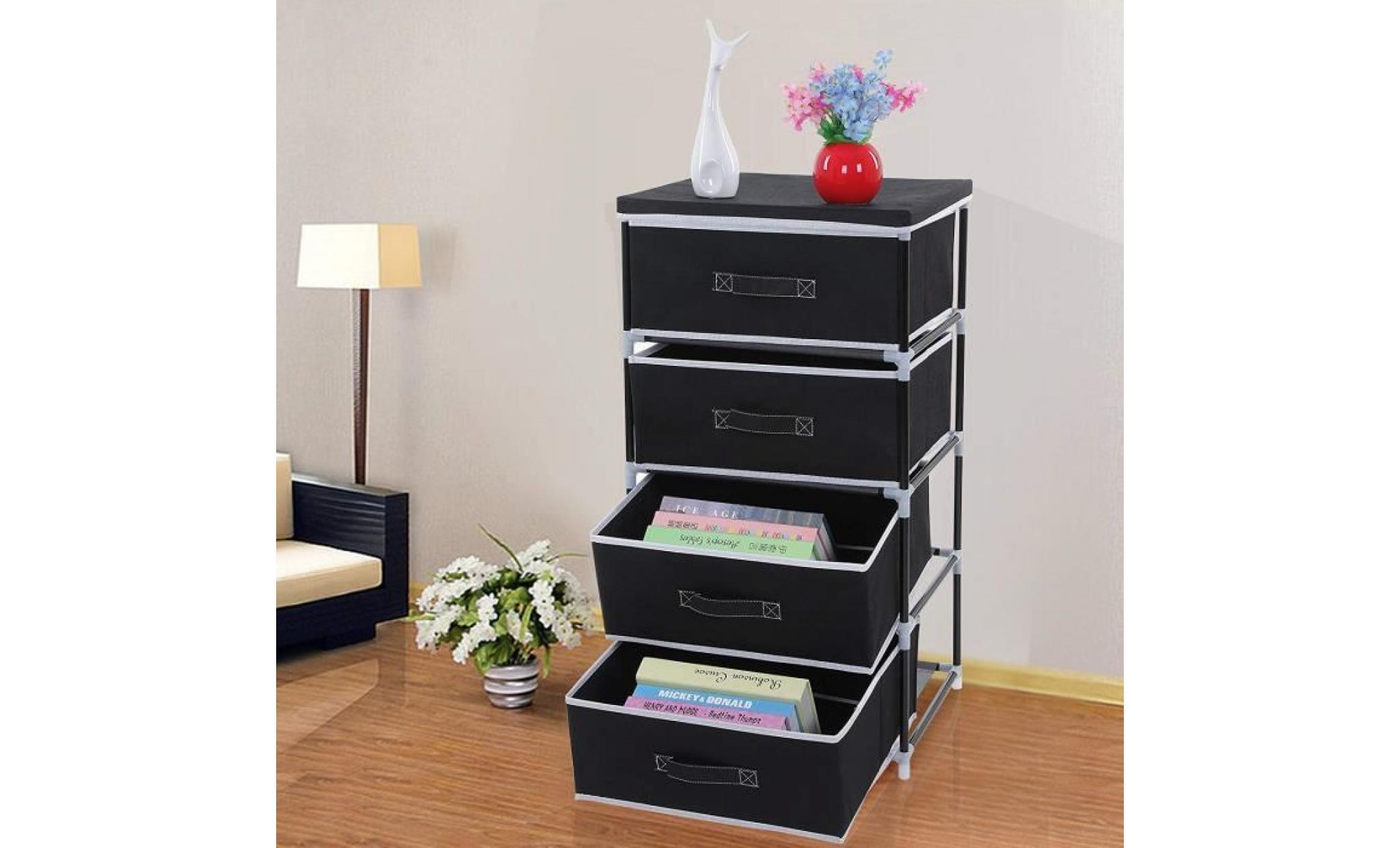 songmics® 84,5 cm, meuble tiroir de rangement à 4 étagères en tissu non tissé, commode de ...