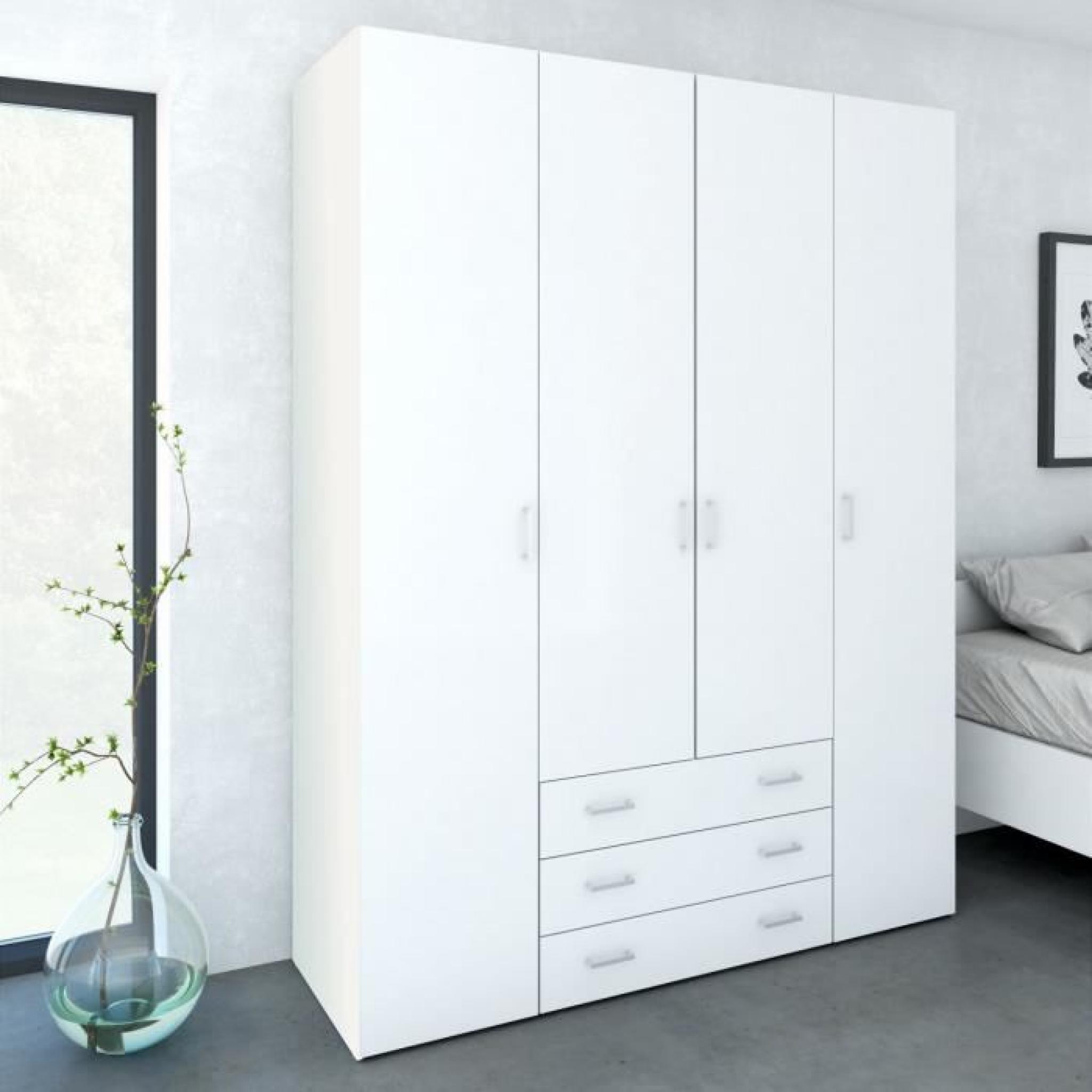 space armoire 154x49x200 cm blanc brillant achat vente armoire de chambre pas cher couleur. Black Bedroom Furniture Sets. Home Design Ideas