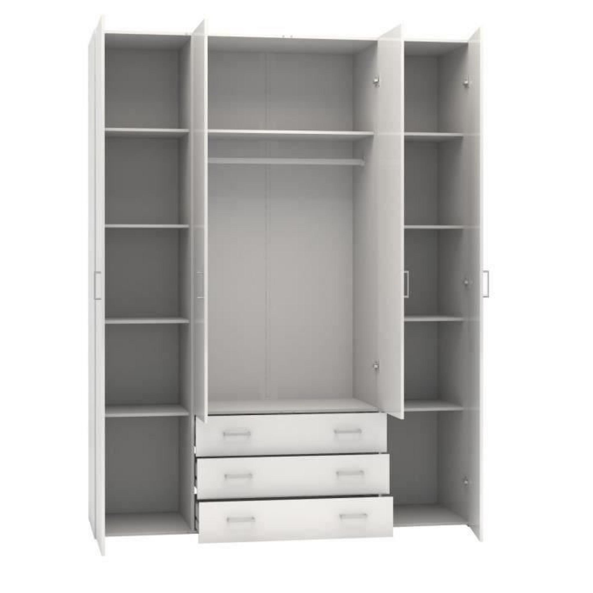 space armoire 154x49x200 cm blanc brillant achat vente. Black Bedroom Furniture Sets. Home Design Ideas