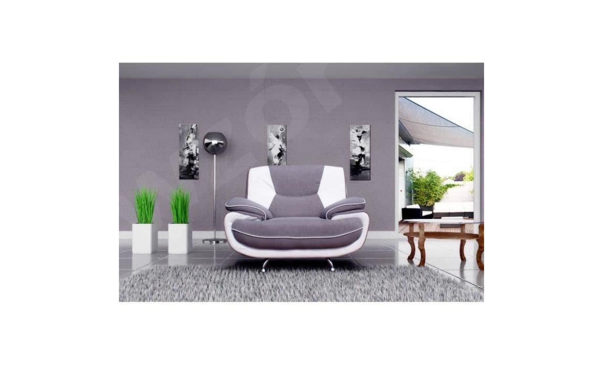 spacio fauteuil contemporain en simili et tissu gris et blanc l 134 x 85 cm
