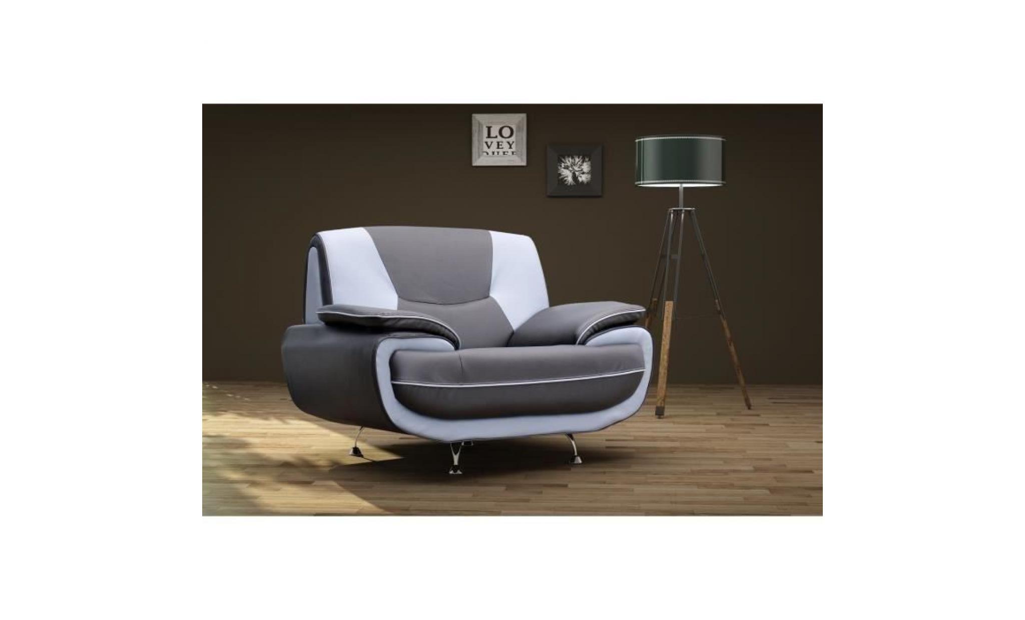 spacio fauteuil contemporain en simili noir et gris l 134 x p 85 cm