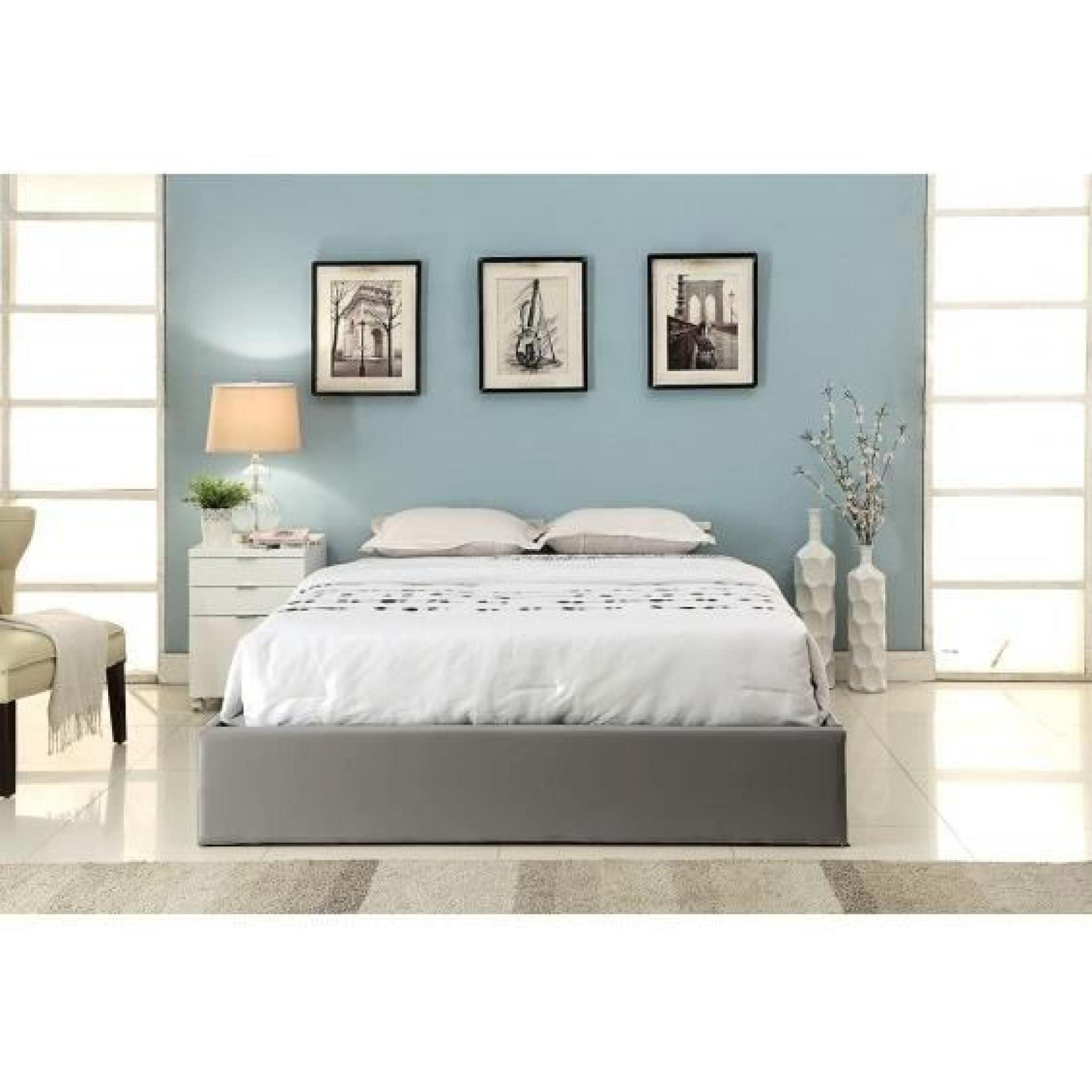 spoon lit coffre gris 160x200 cm achat vente lit pas. Black Bedroom Furniture Sets. Home Design Ideas