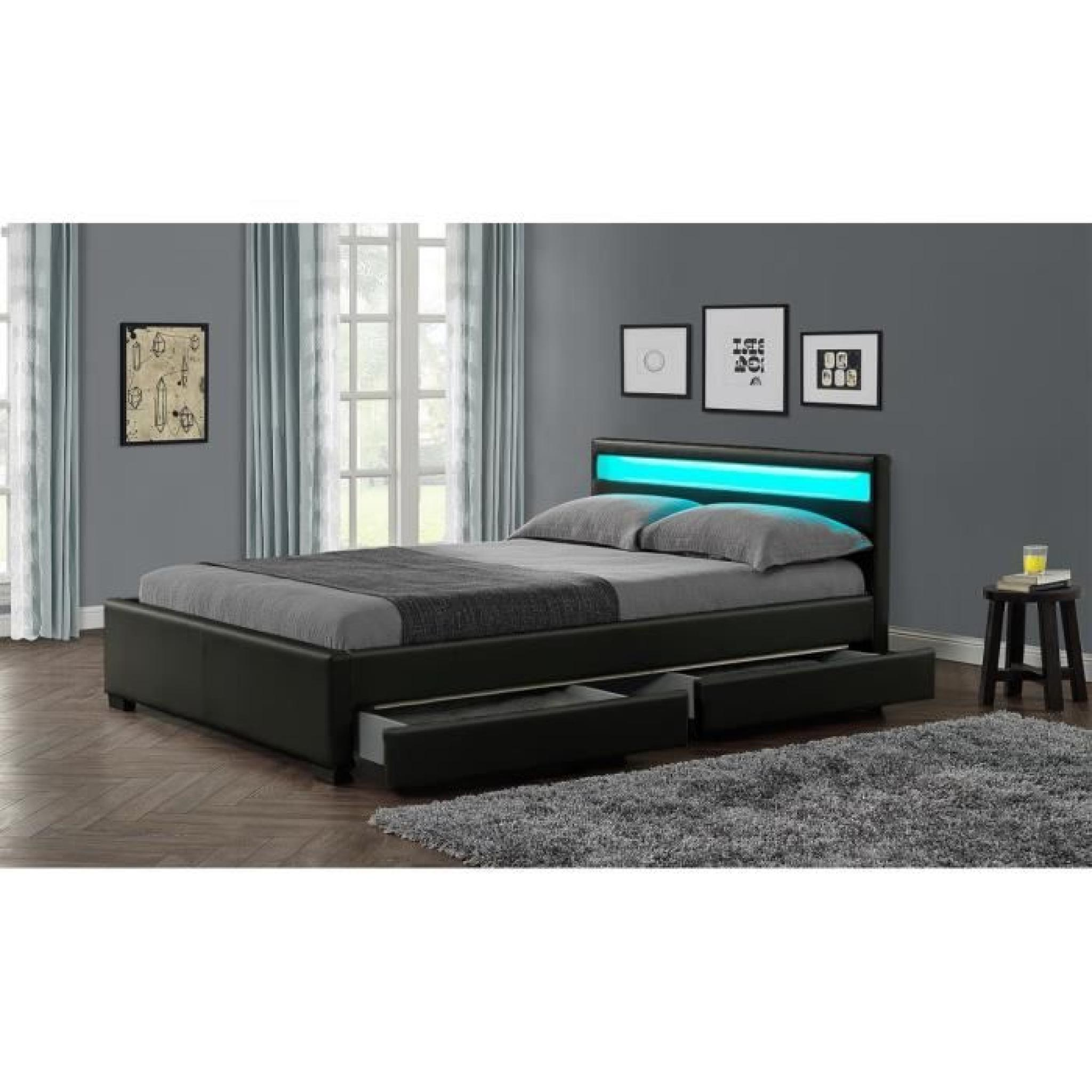 stellar lit adulte tiroirs led 160x200cm noir sommier. Black Bedroom Furniture Sets. Home Design Ideas