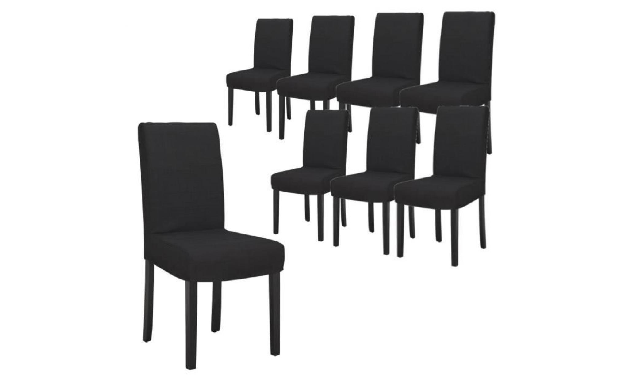 strip lot de 8 chaises de salle manger d houssables noires achat vente chaise salle a manger. Black Bedroom Furniture Sets. Home Design Ideas