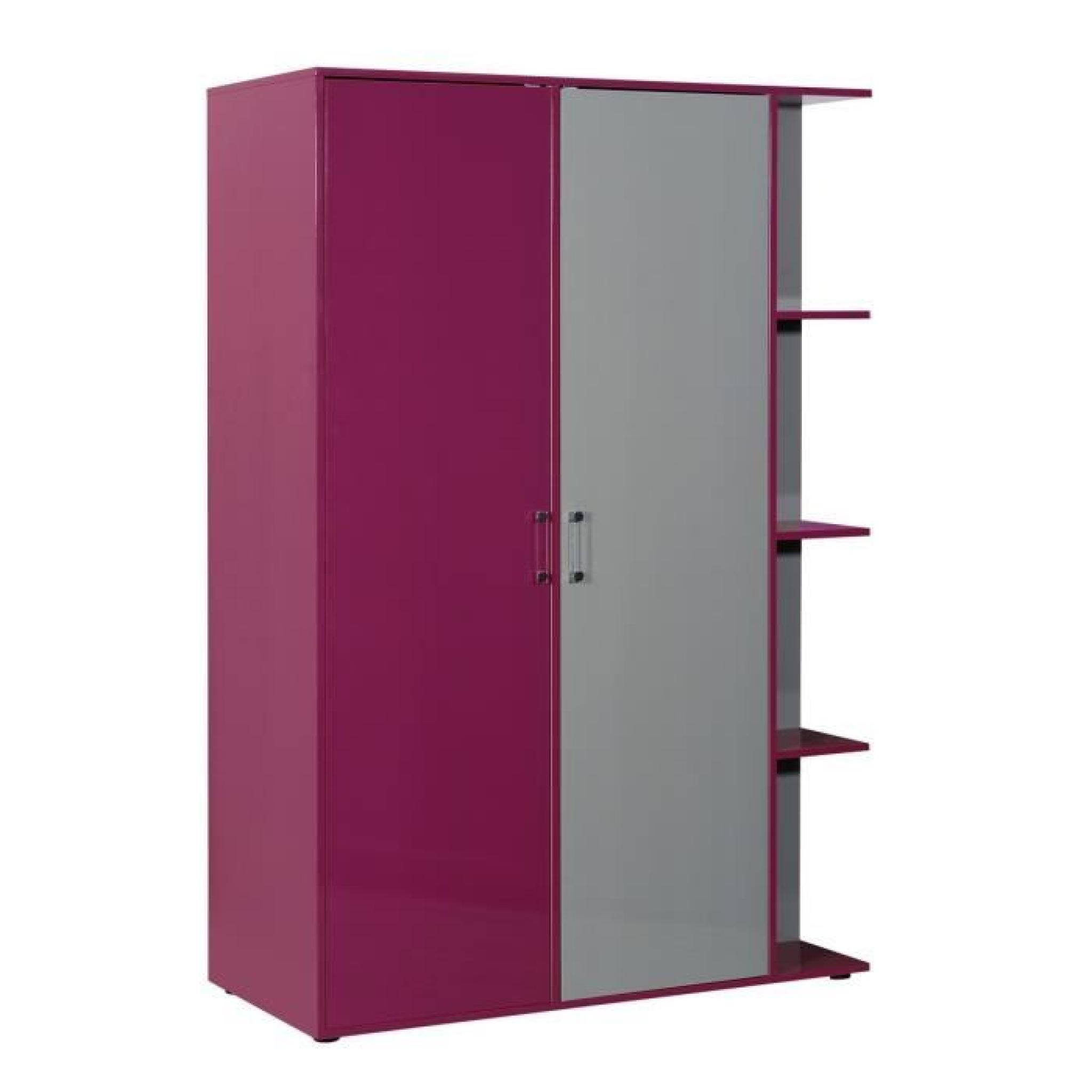 strype armoire de chambre enfant 135 cm fuchsia et gris. Black Bedroom Furniture Sets. Home Design Ideas