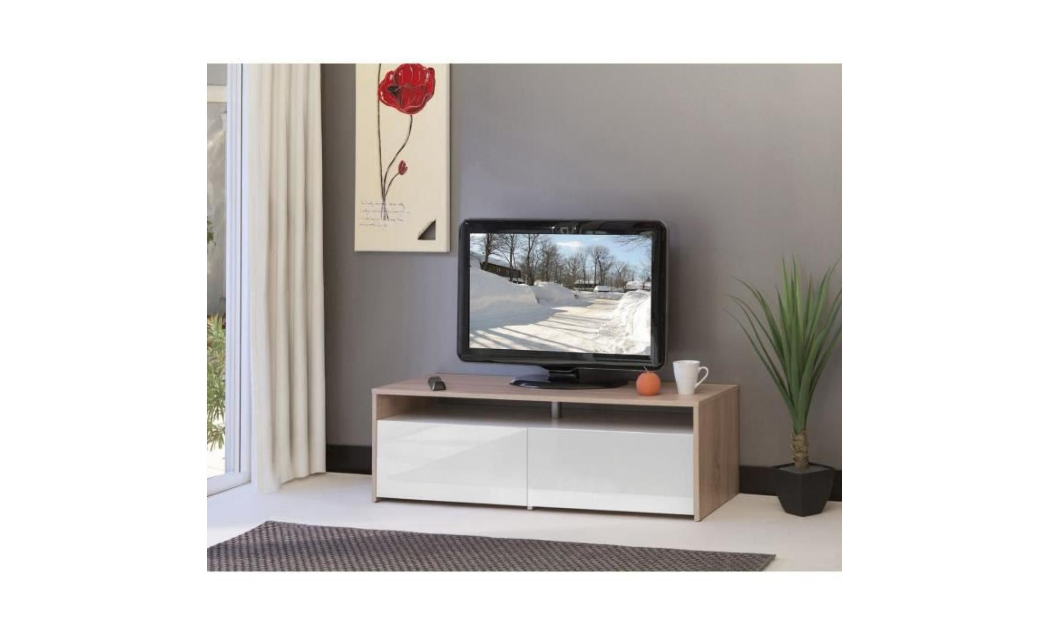 sun meuble tv 120cm coloris ch ne et blanc laqu achat. Black Bedroom Furniture Sets. Home Design Ideas