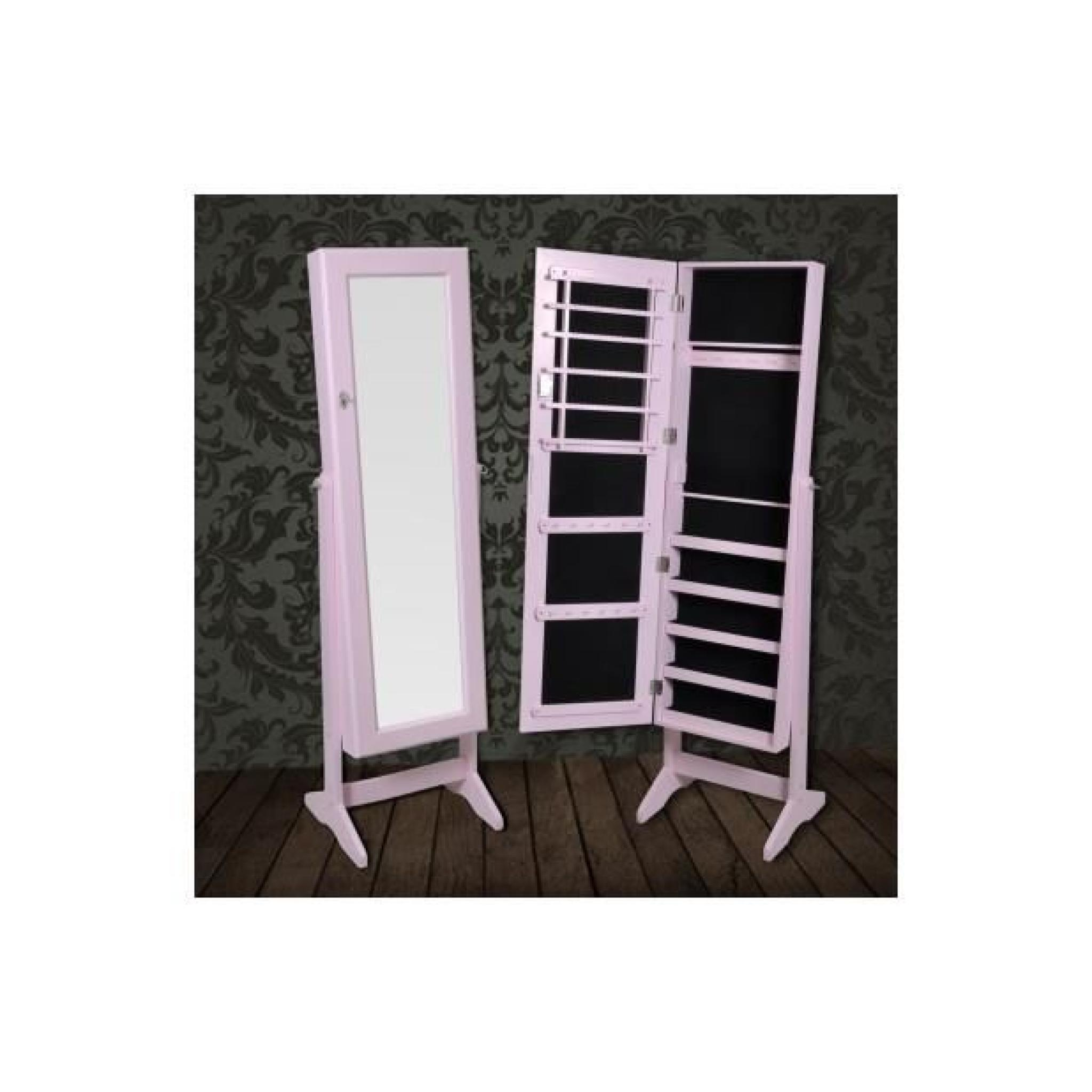 Superbe Armoire à Bijoux rangement miroir meuble chambre rose