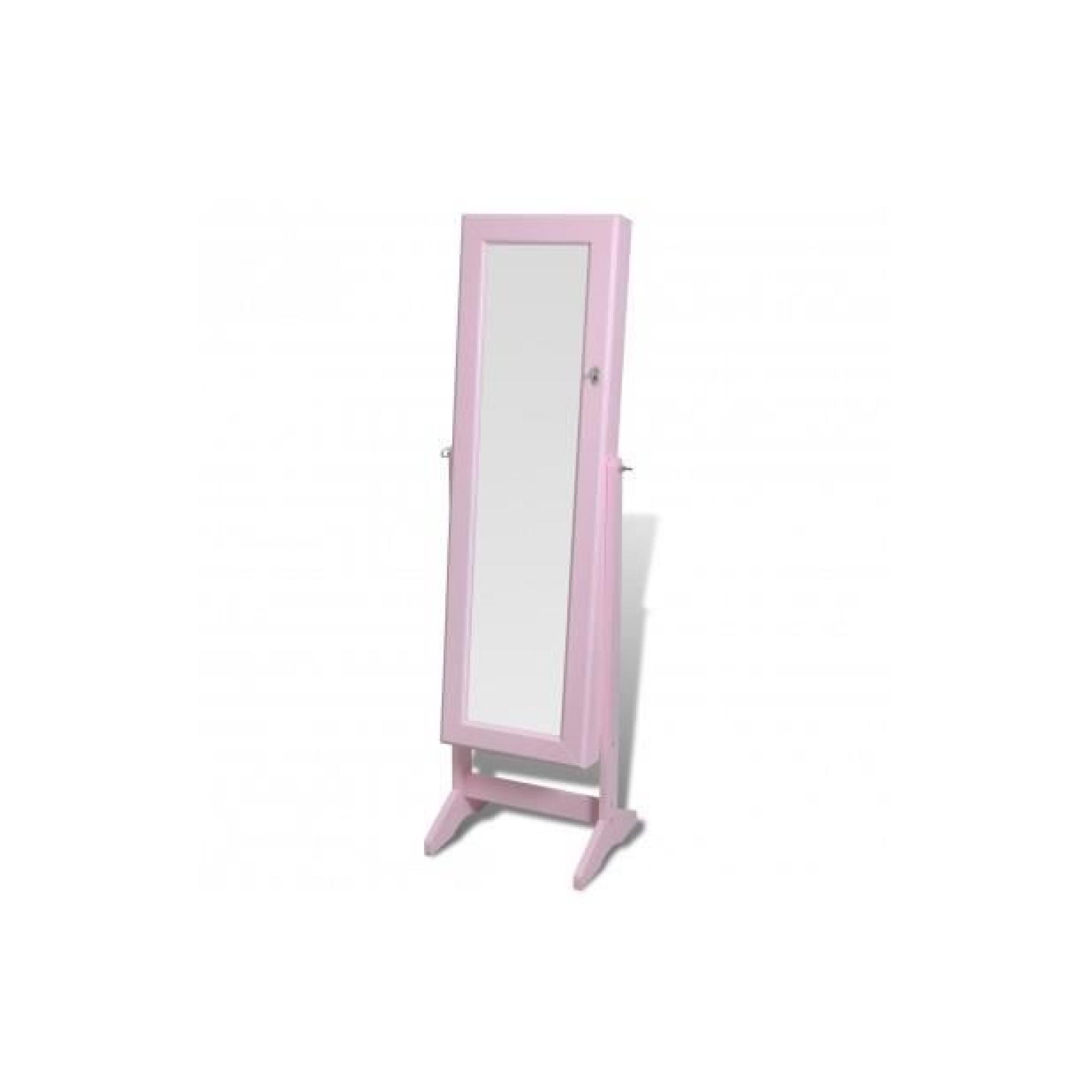Superbe armoire bijoux rangement miroir meuble chambre rose achat vente armoire de chambre - Meuble rangement bijoux miroir ...