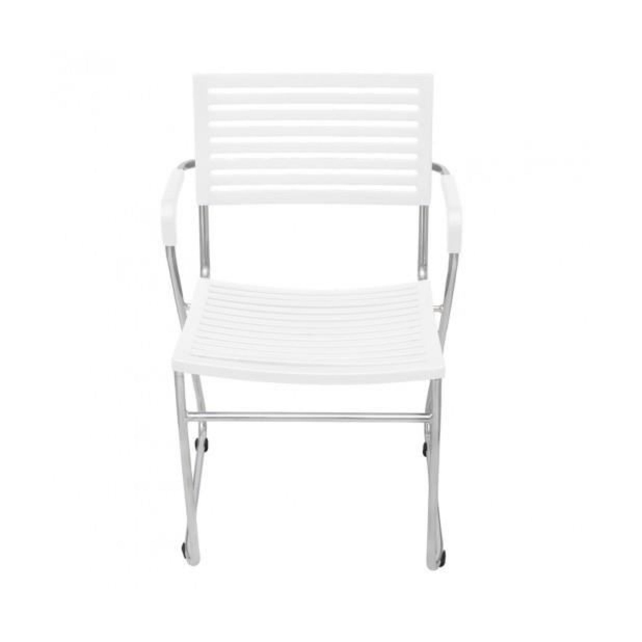 Superbe Chaise Empilable Avec Accoudoir 2 Pieces Blanc
