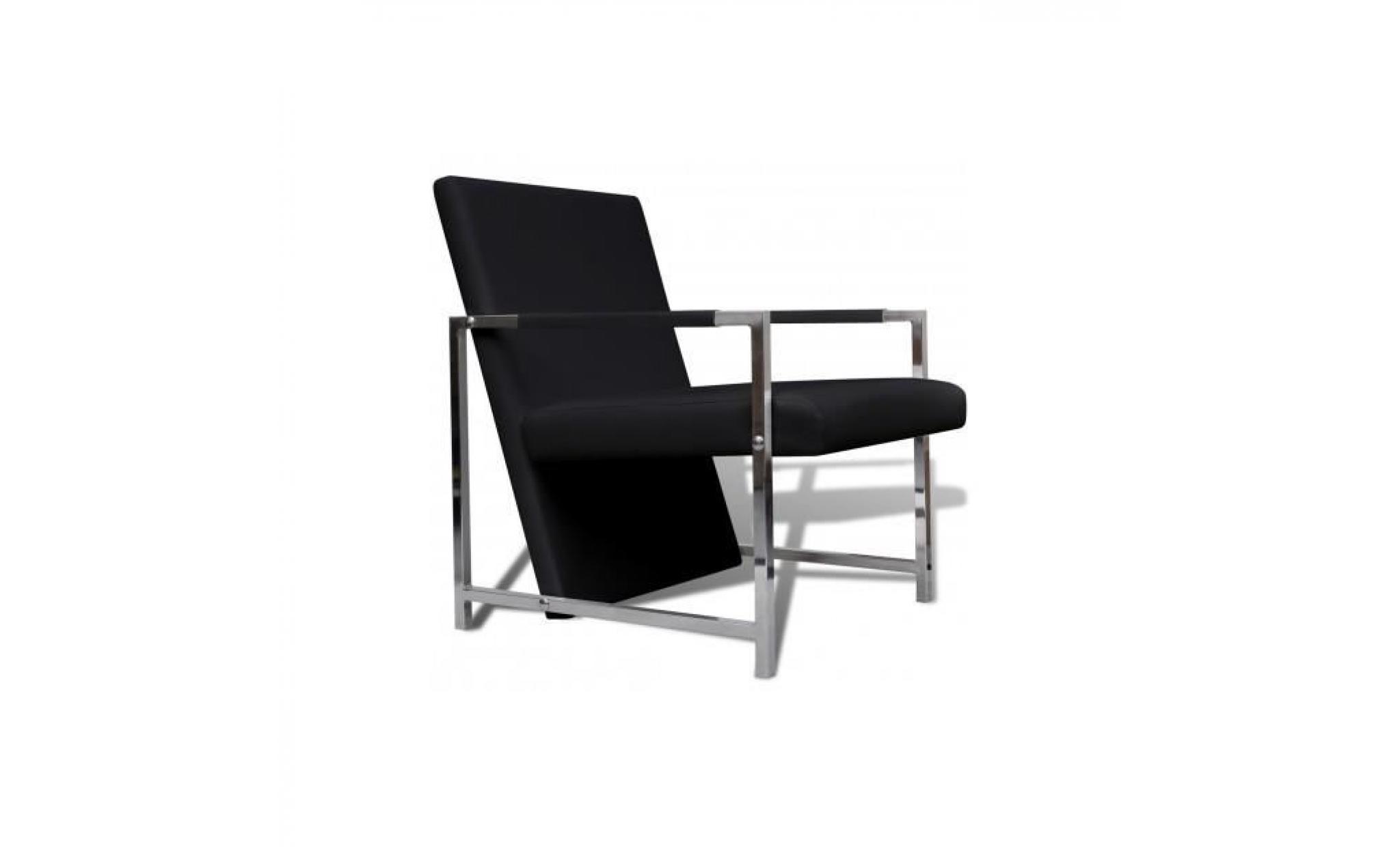 Superbe fauteuil magnifique avec pieds chrom s noir achat vente fauteuil pa - Fauteuil main noir pas cher ...