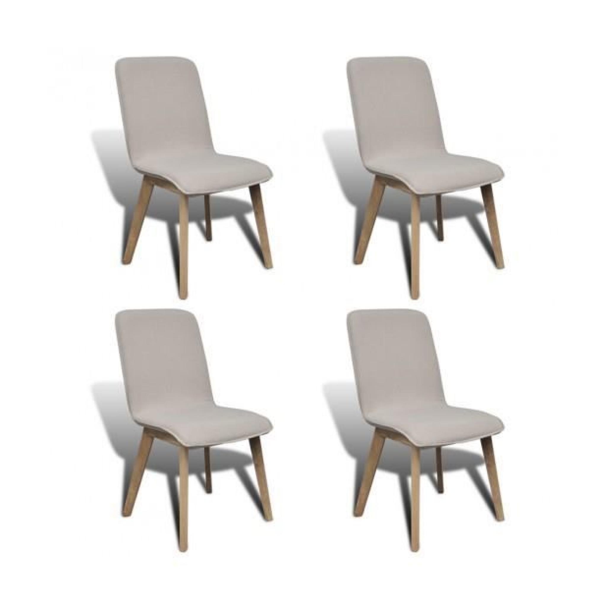 superbe set de 4 chaises gondole pour intrieur en chne en tissu - Salle A Manger Beige Clair