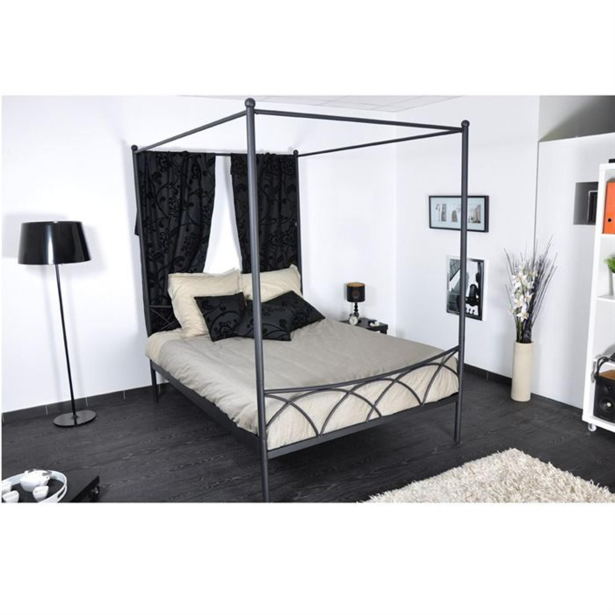 sweet lit 160x200 adulte baldaquin noir achat vente lit pas cher couleur et. Black Bedroom Furniture Sets. Home Design Ideas