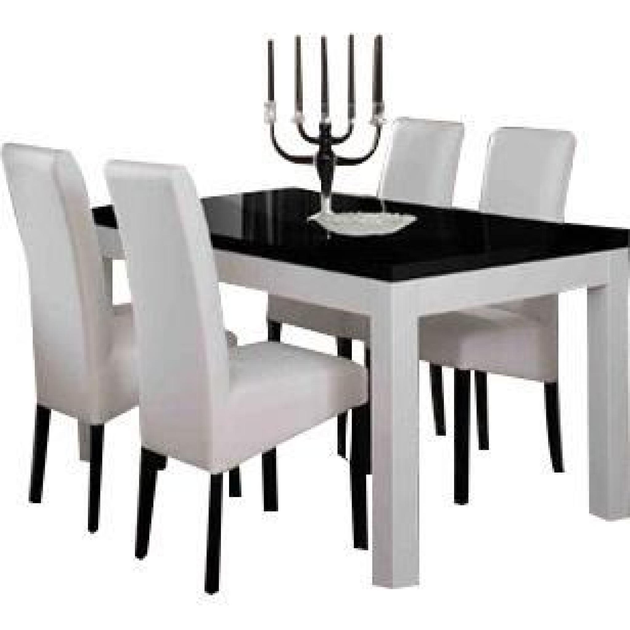Table 160 cm blanc et noir + 4 chaises coloris blanc et noir