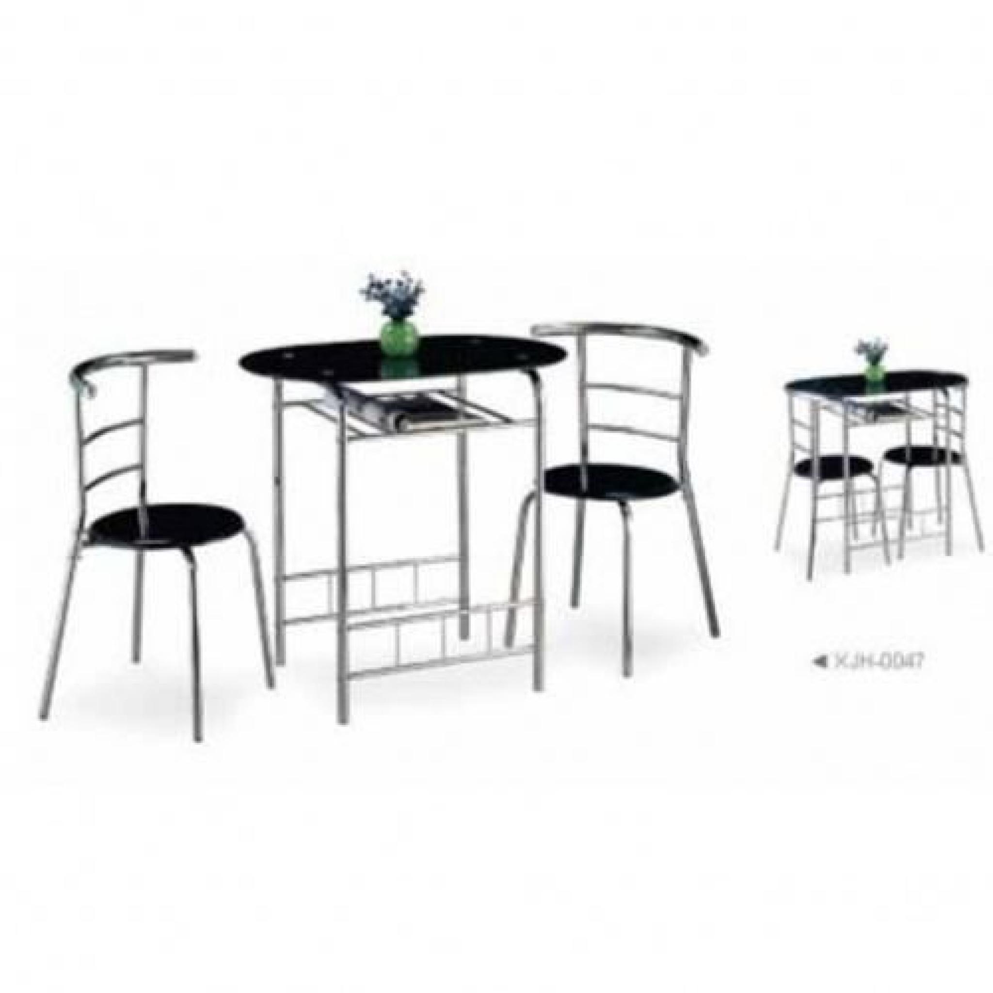 Table + 2 chaises Noire