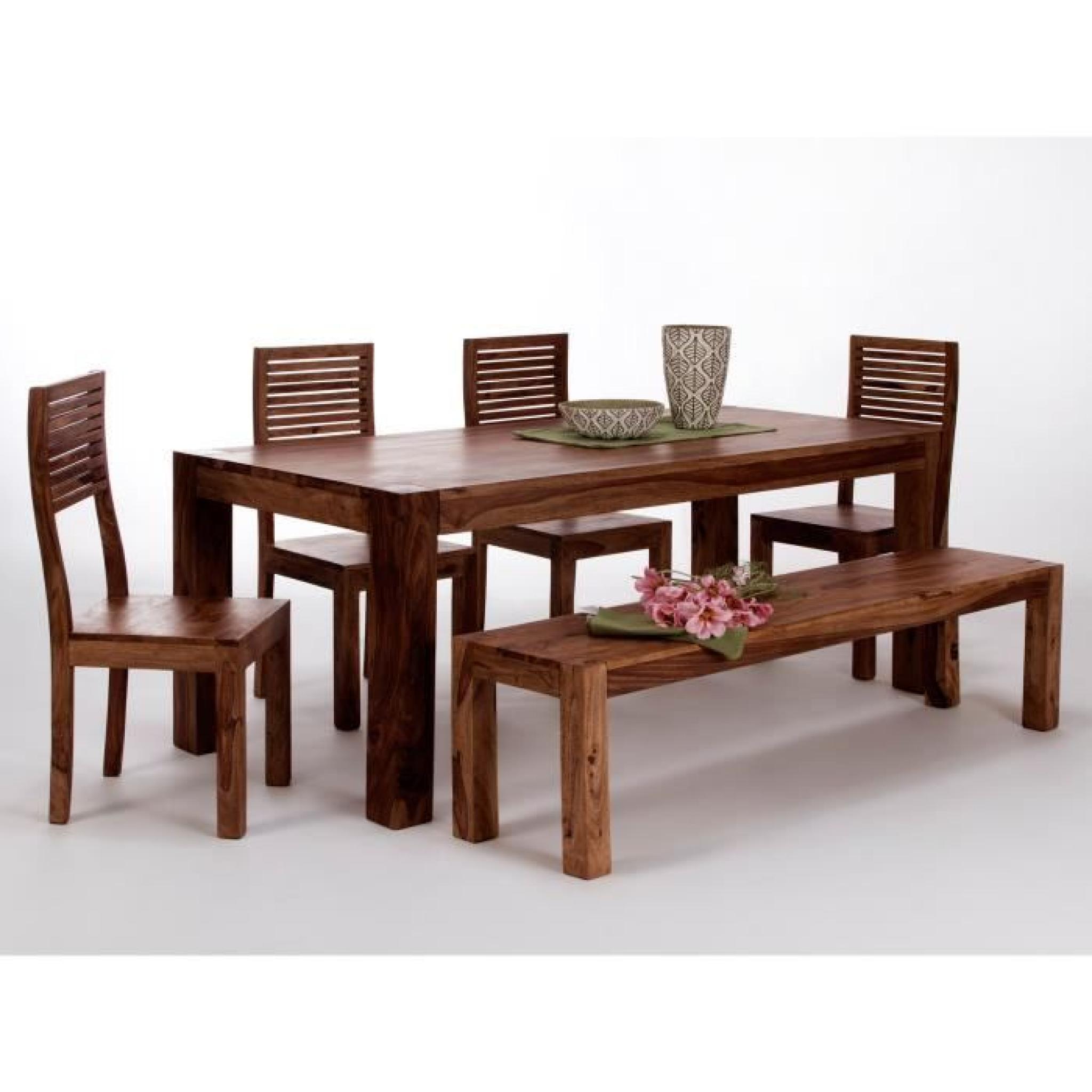 Table 200x100 avec 4 chaises et banc palison fo achat vente table salle a manger pas cher - Salle a manger avec banc ...