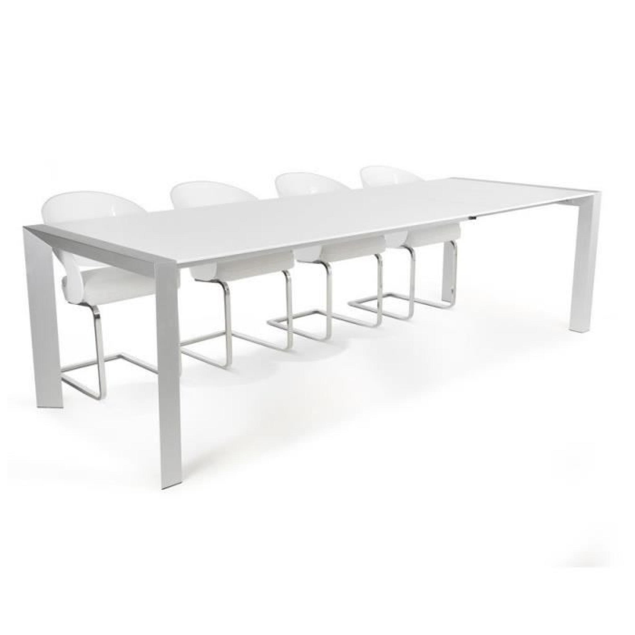 table d ner de r union extensible 39 pure 39 design blanche avec rallonges achat vente table. Black Bedroom Furniture Sets. Home Design Ideas