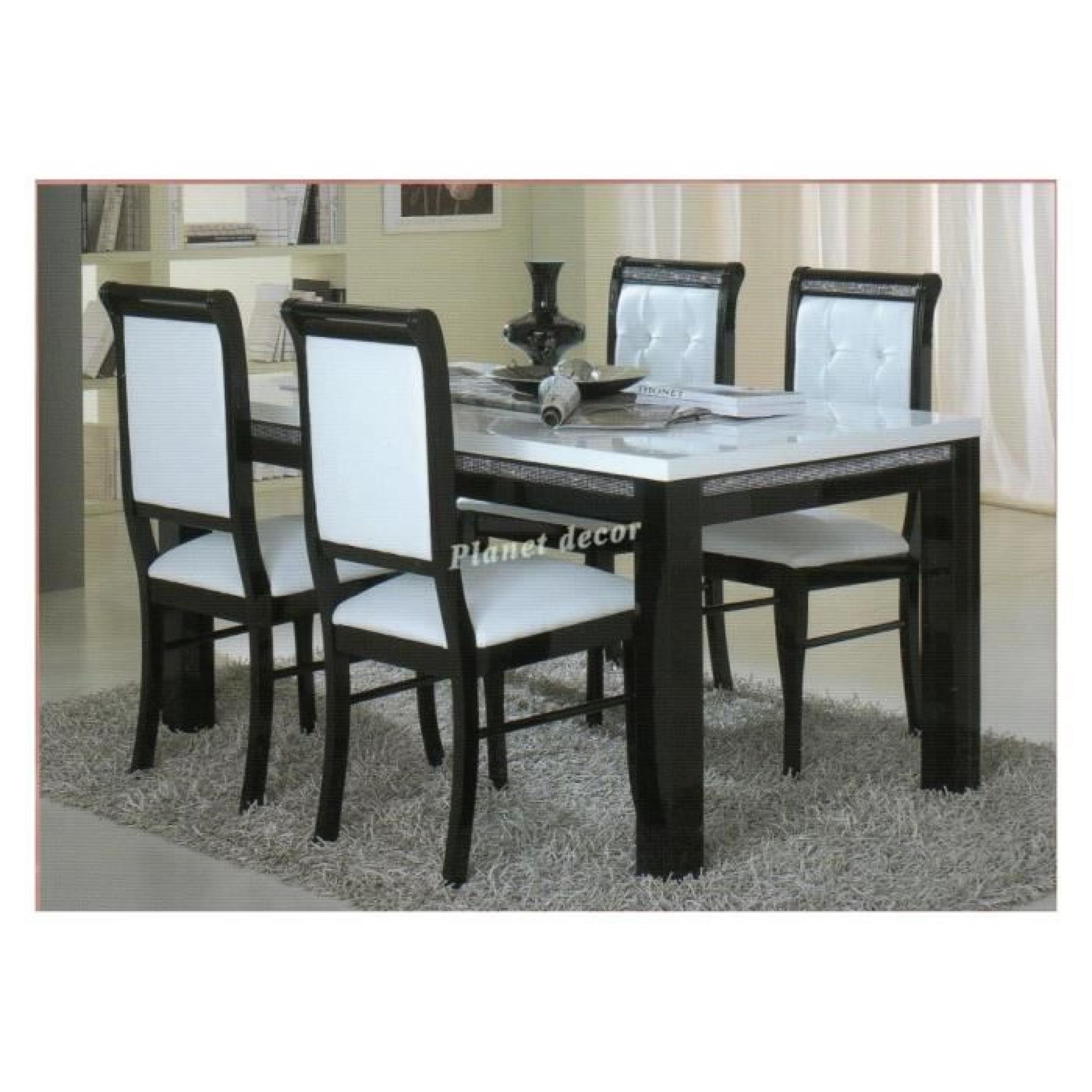 Table à manger 160 cm + 4 chaises ultra design noir et blanc modele Prestige