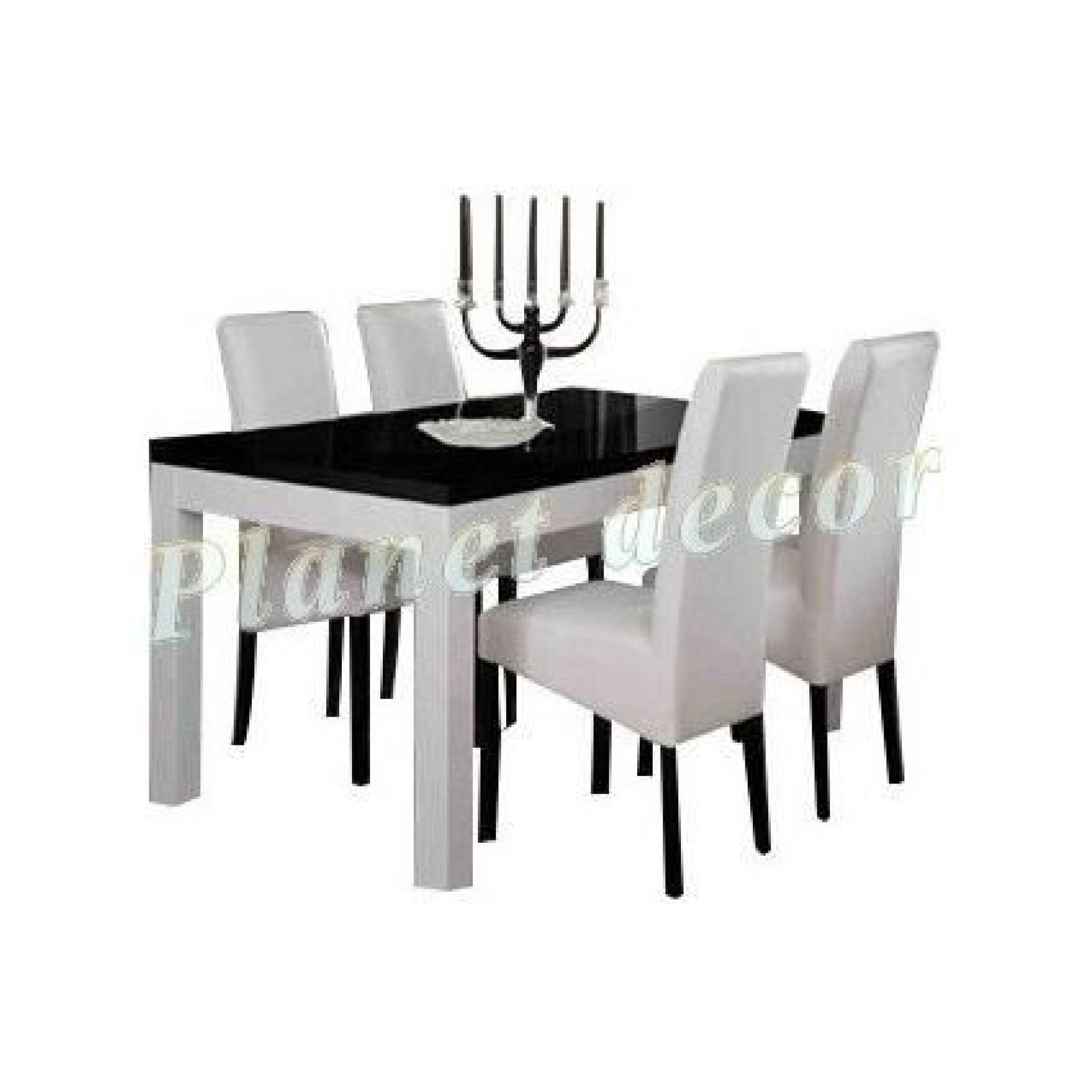 Table à Manger+4 chaises ROMA Blanc-noir L 190 cm
