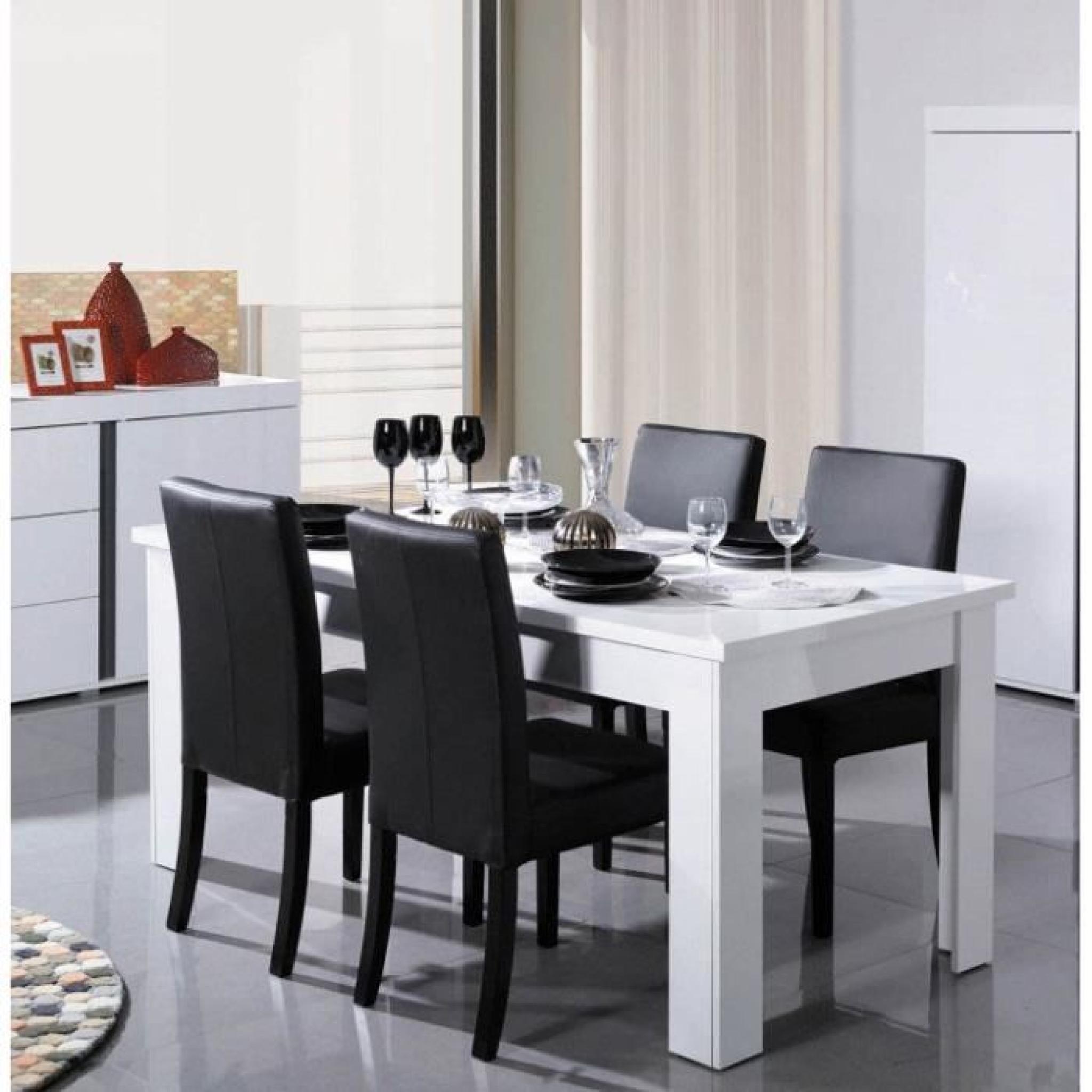 Table manger blanc laqu design novella l 180 cm achat for Table a manger blanc laque pas cher