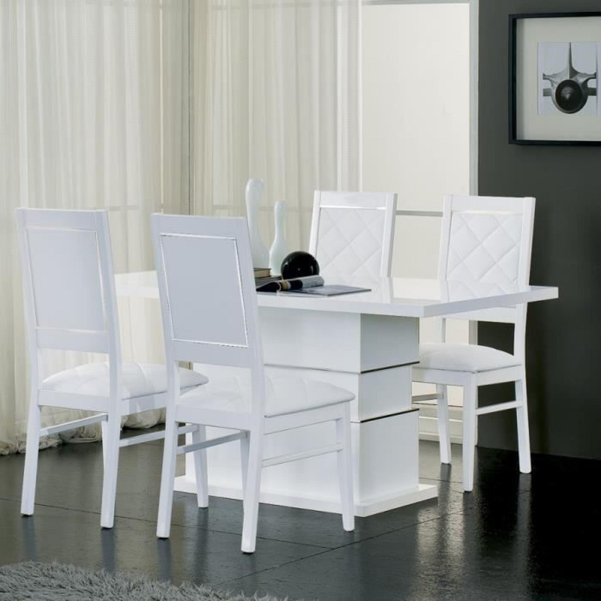 Table à manger blanc laqué design PALACE L 190 cm