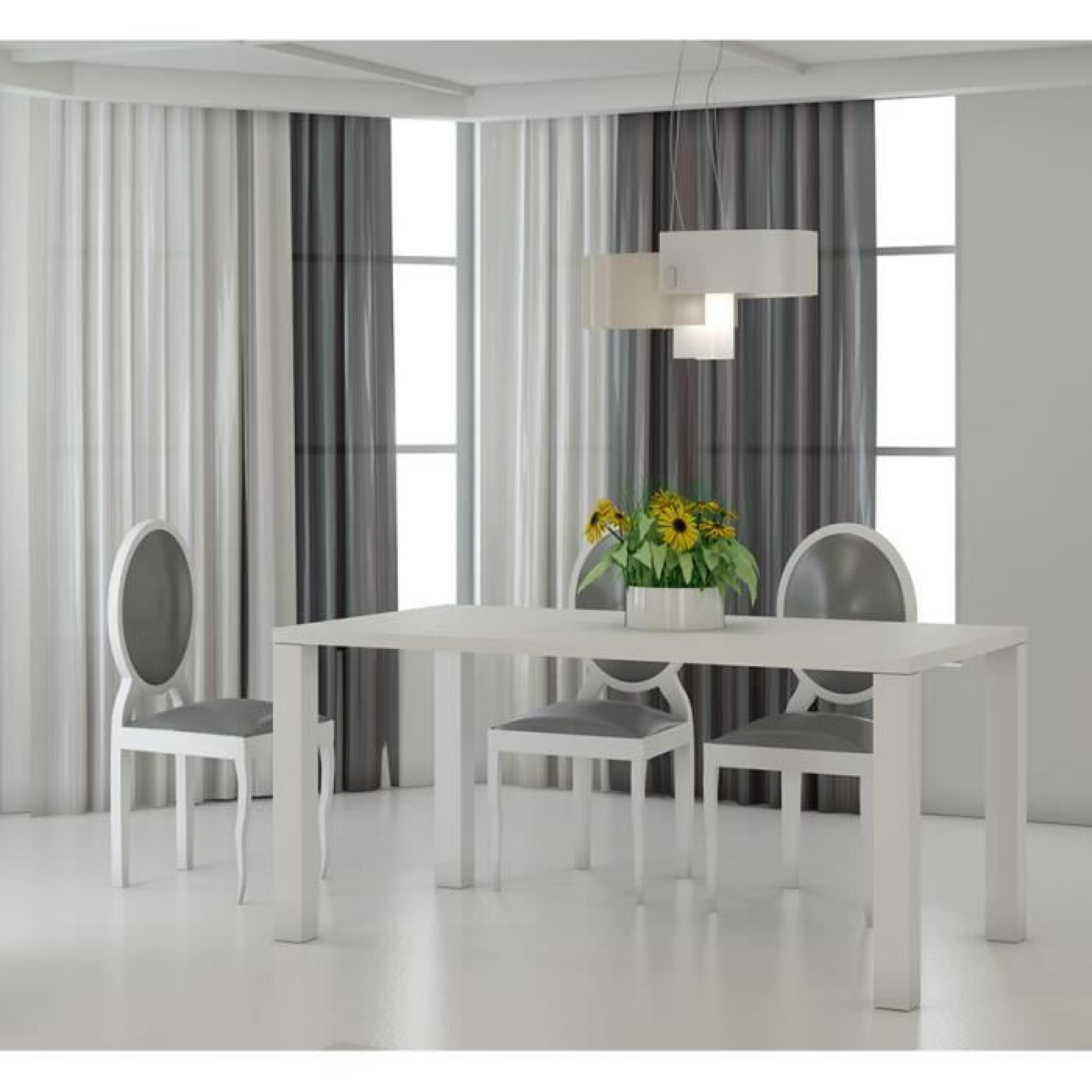 Table à Manger Blanc Laqué Et Ardoise Design JOSHUA L 160 Cm