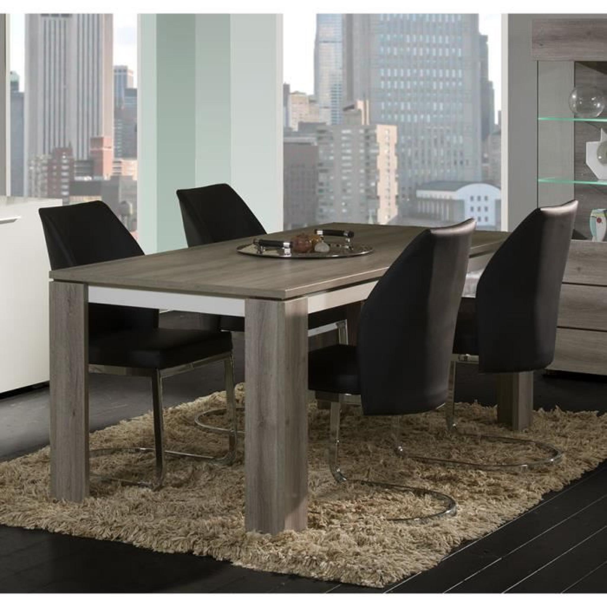 Table à manger blanc laqué et couleur chêne grisé moderne DAVOLI ...
