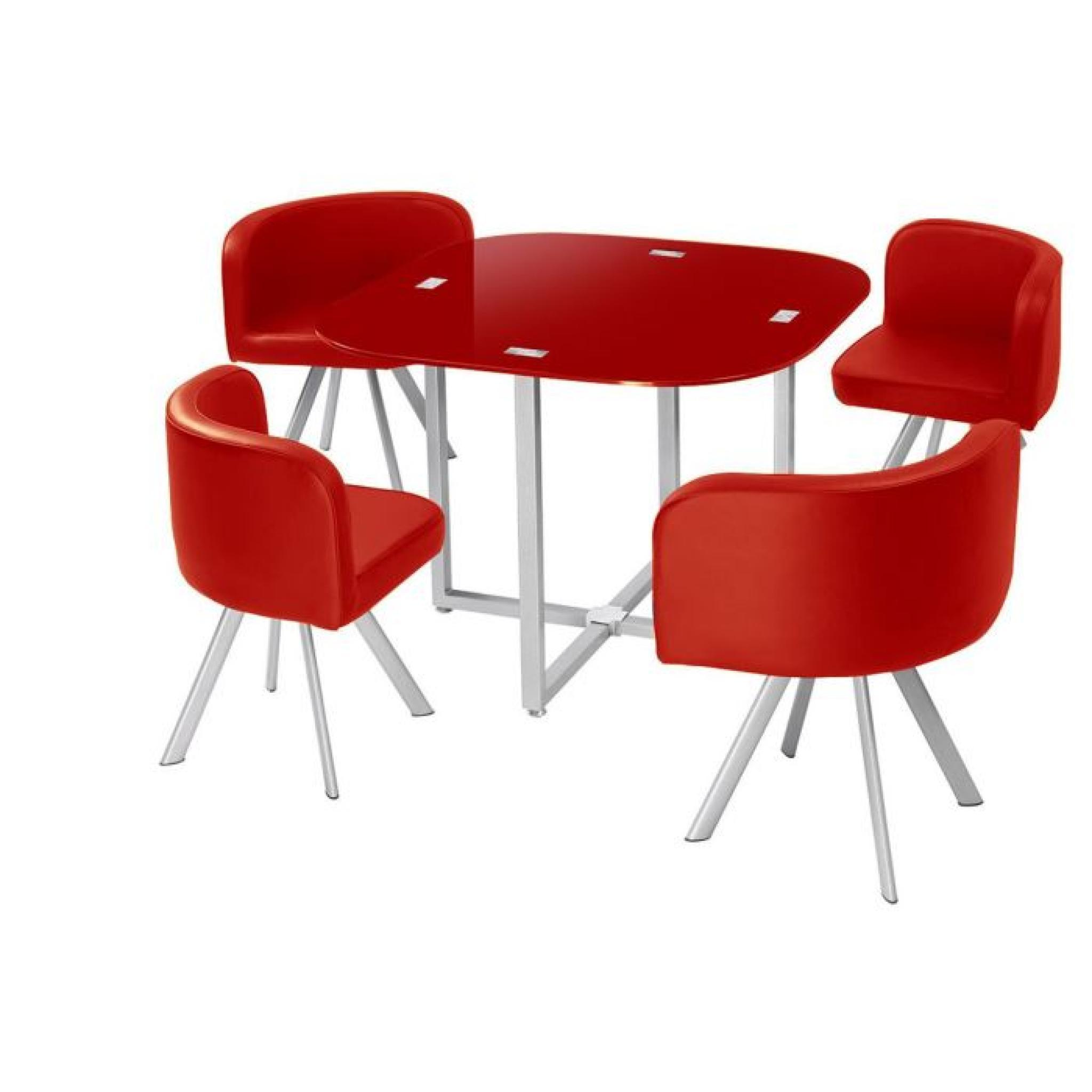Table A Manger Corner 90 Cm Rouge En Verre 4