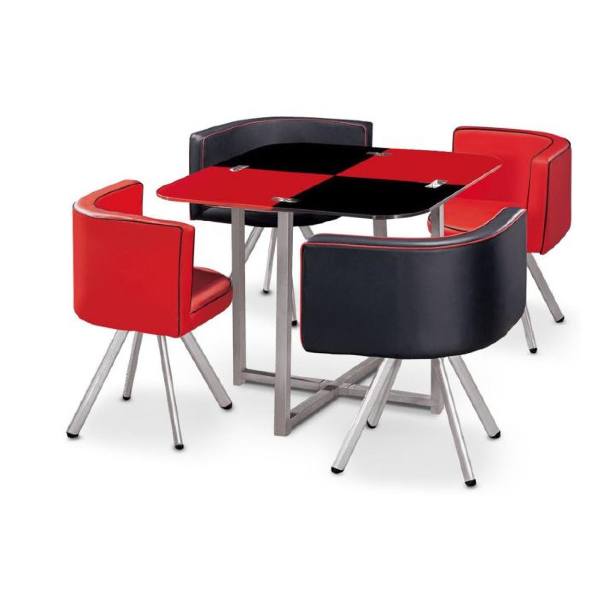 Table à manger CORNER 90 cm Rouge noir en Verre…