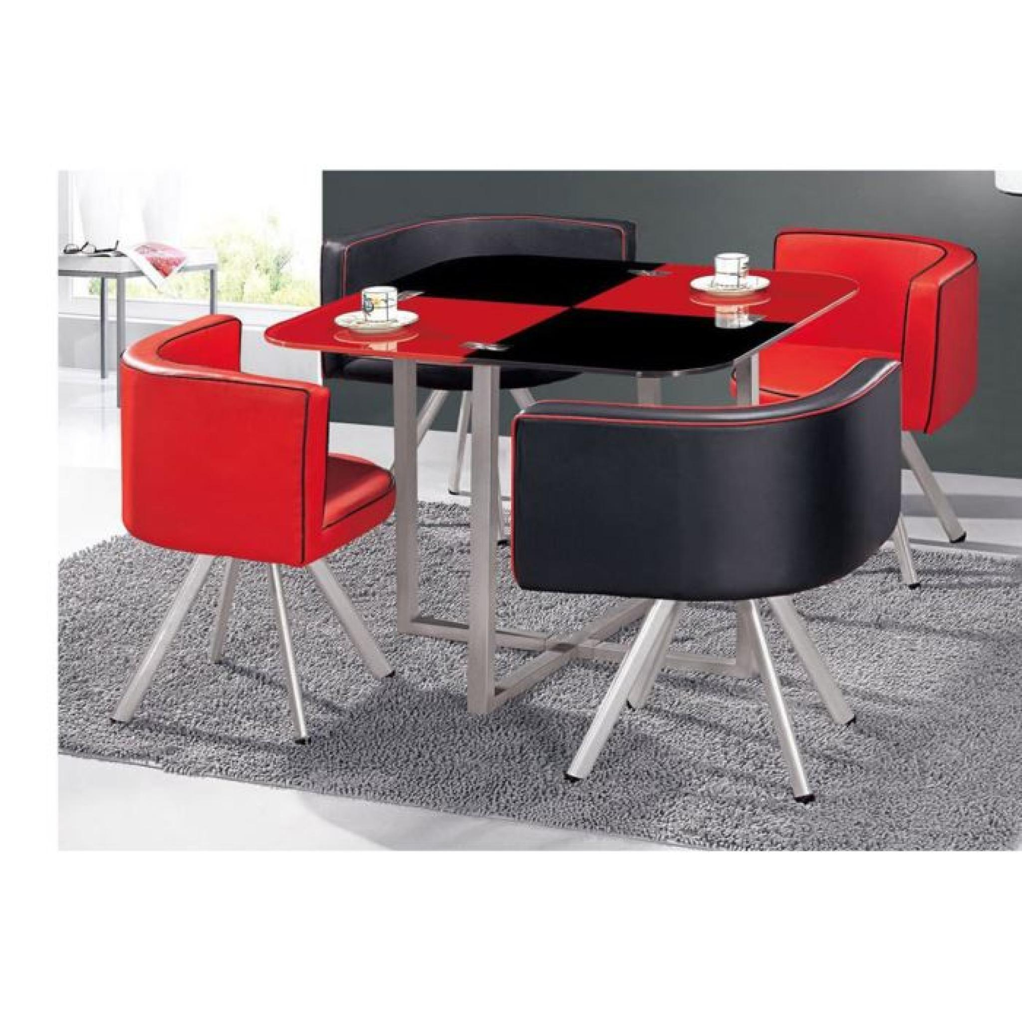 table manger corner 90 cm rouge noir en verre achat vente table salle a manger pas cher. Black Bedroom Furniture Sets. Home Design Ideas