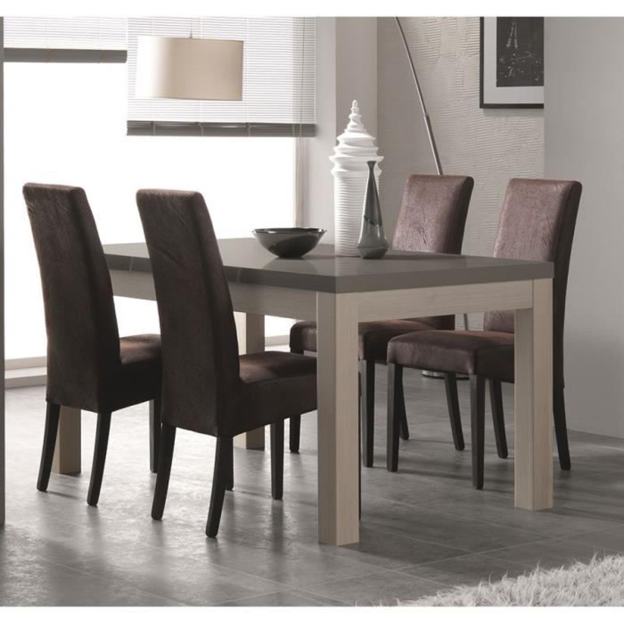 Table à manger couleur chêne blanchi et gris laqué moderne GAIA L ...