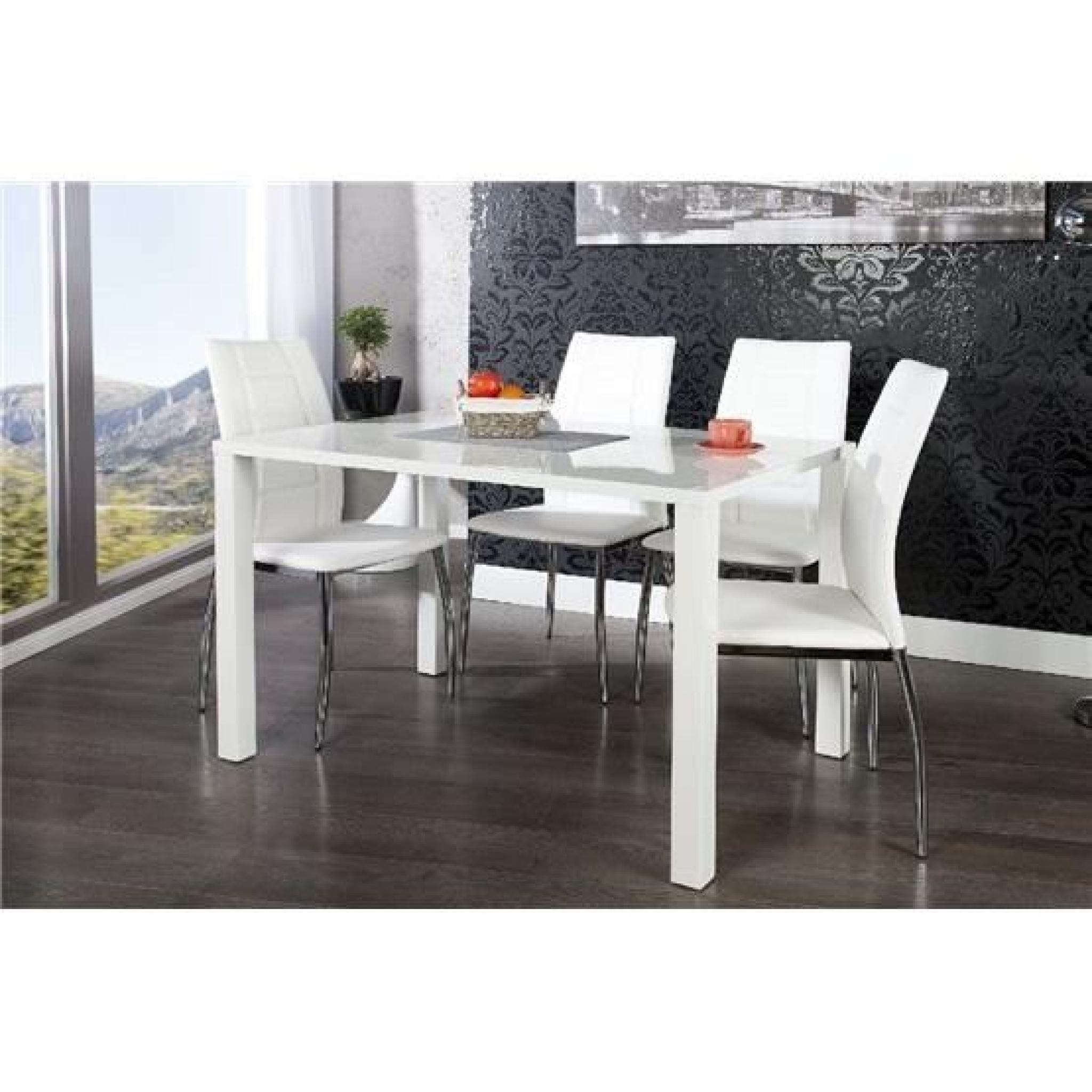 Table manger design lasya blanc 120x80 achat vente for Table a manger design