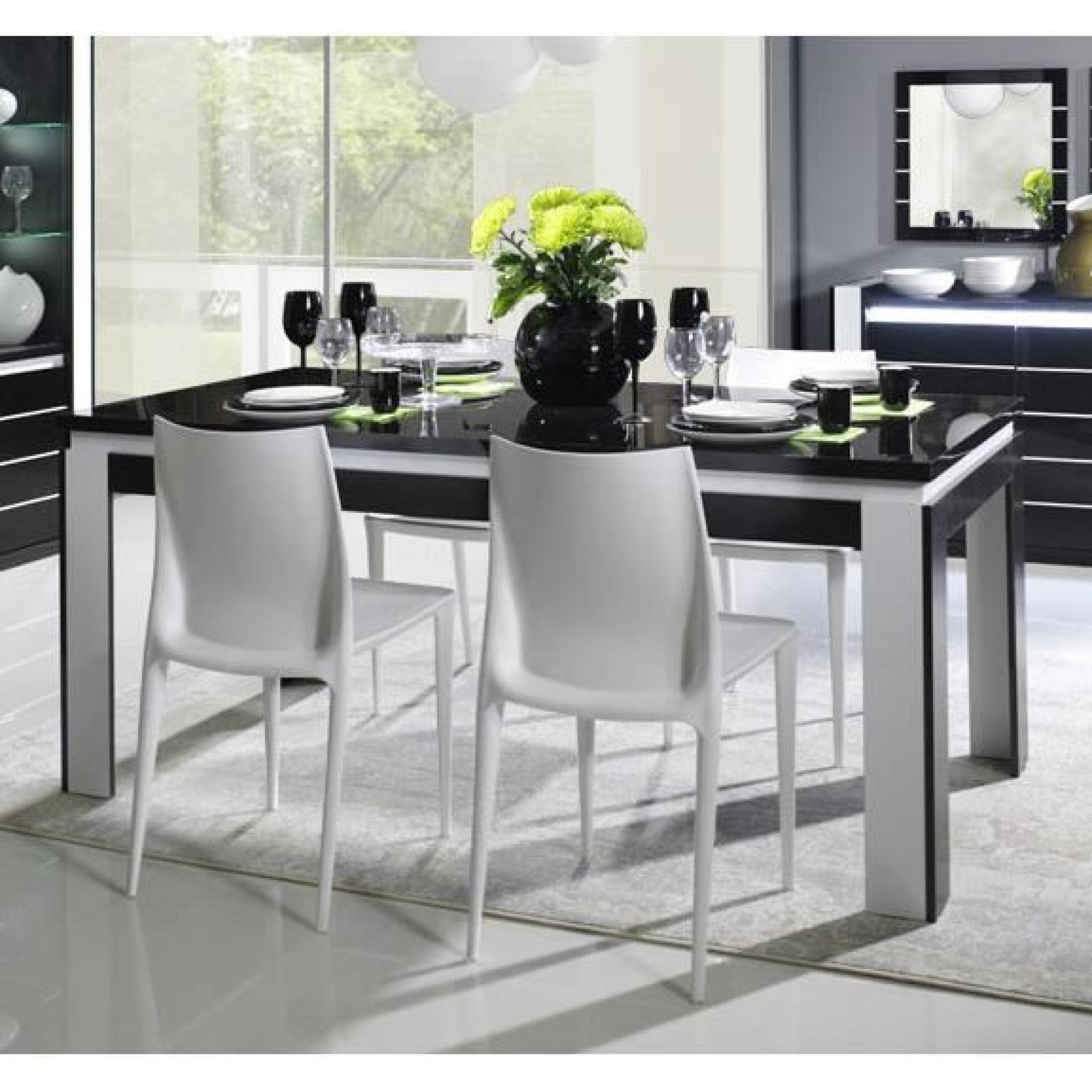 table manger noir et blanc laqu design erica 3 table 160 cm