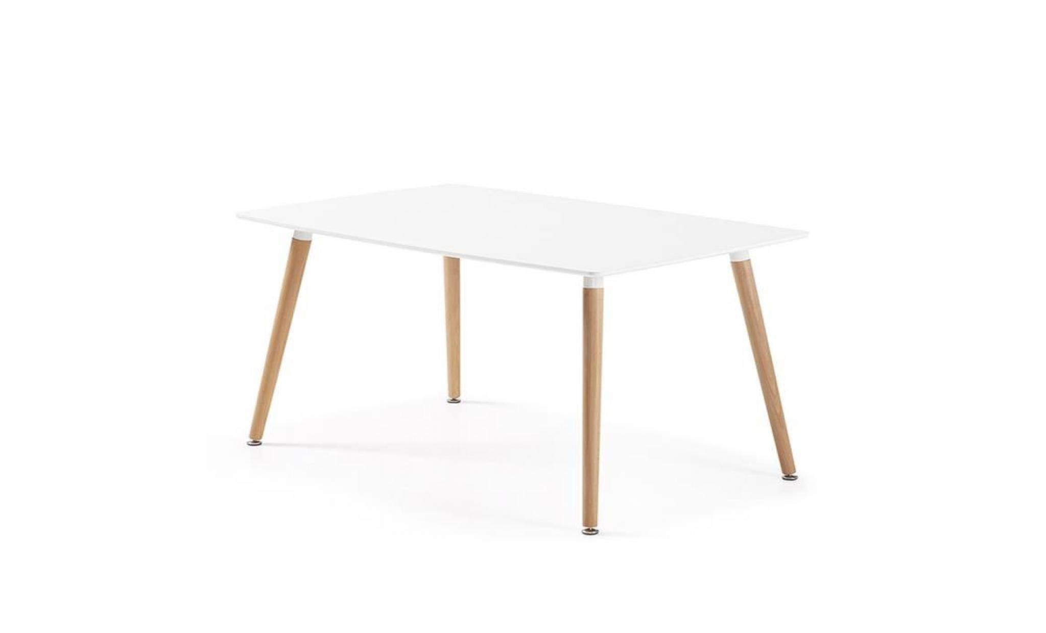 Table manger rectangulaire design blanche en bois laqu for Table cuisine blanche bois