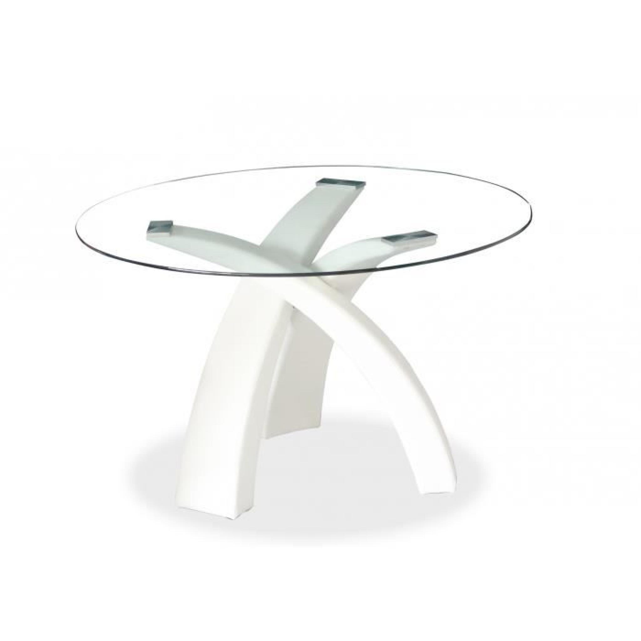 Table manger ronde blanche gore achat vente table for Table salle a manger en verre design ronde