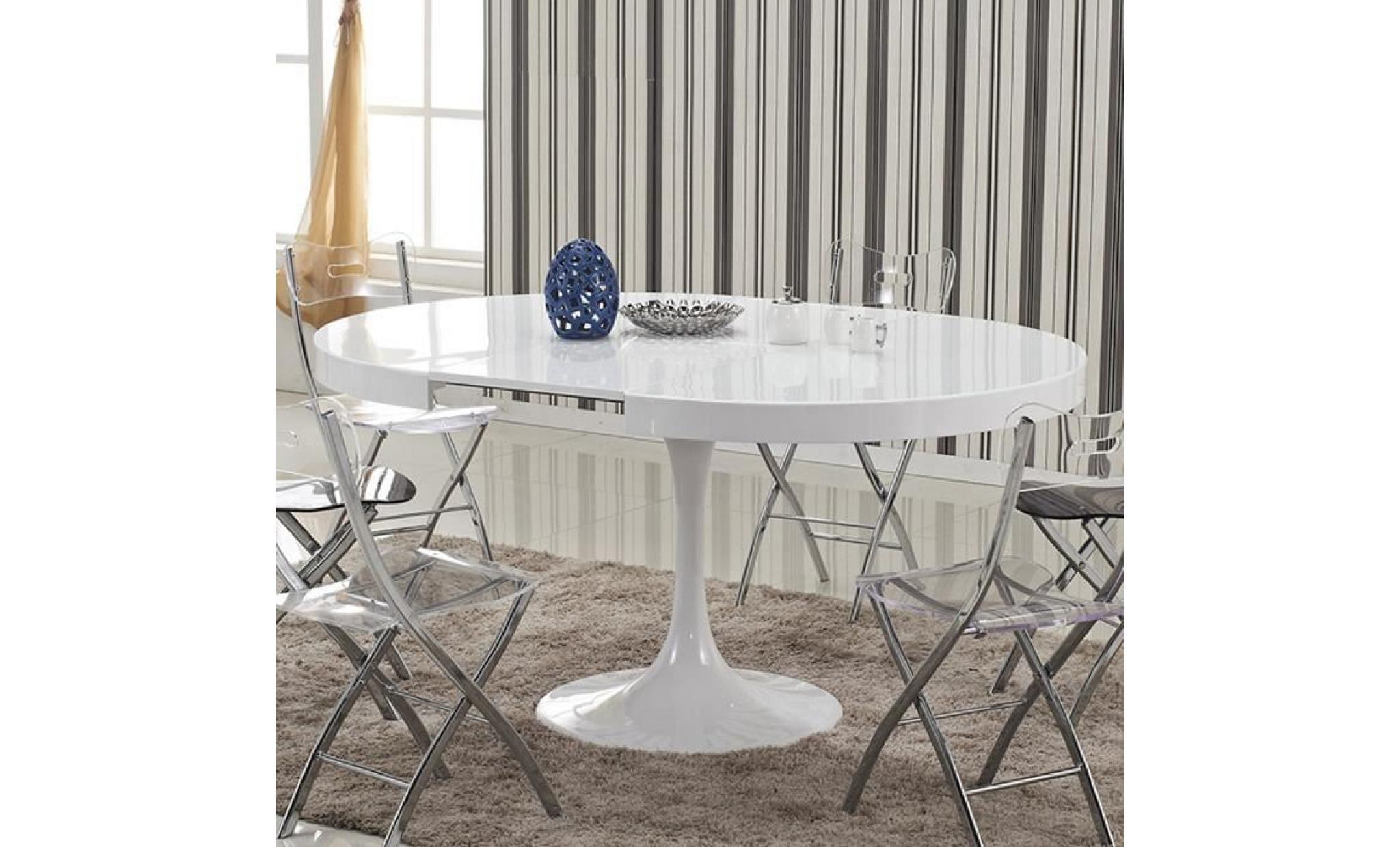 Table à manger ronde design blanche en bois laqué - Alta