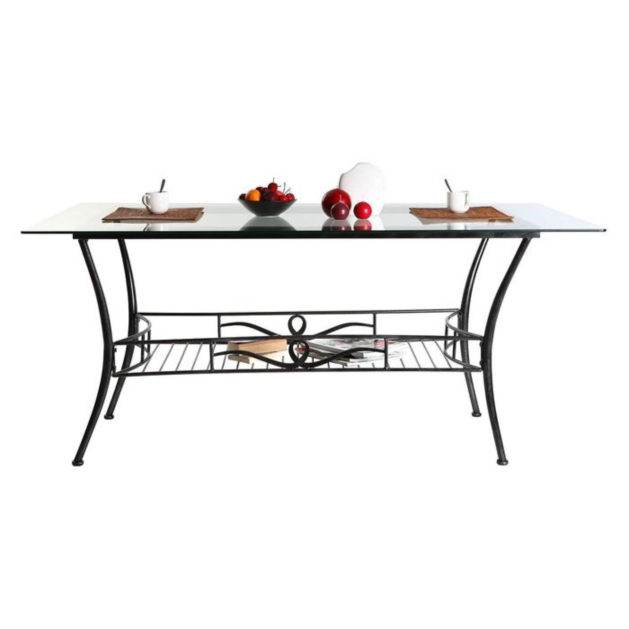 Table A Manger Baroque Verre Et Noire Venezia Achat Vente Table Salle A Manger Pas Cher Couleur Et Design Fr