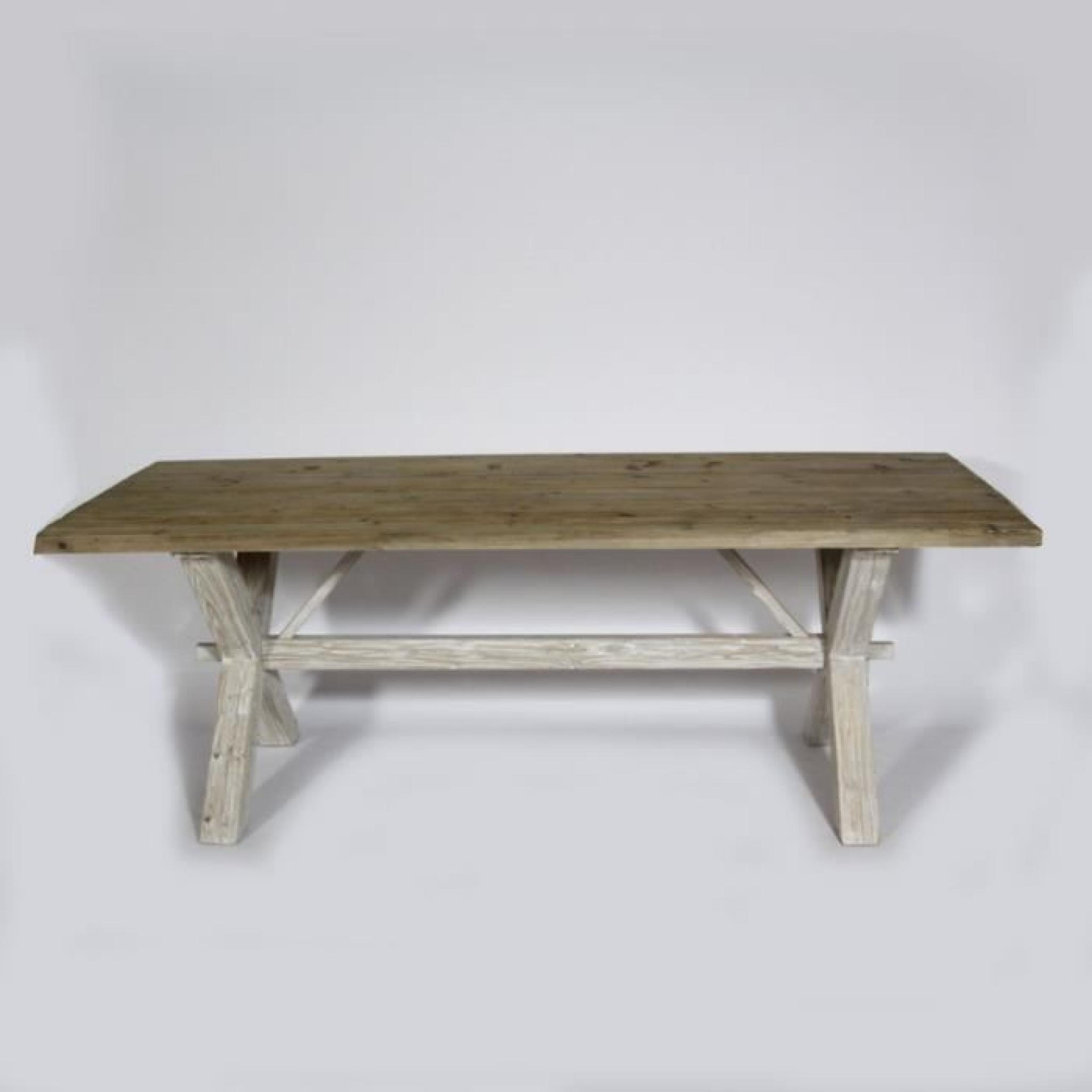Table Avec Croisillons Authentiq En Bois Blanchi Bois Blanchi