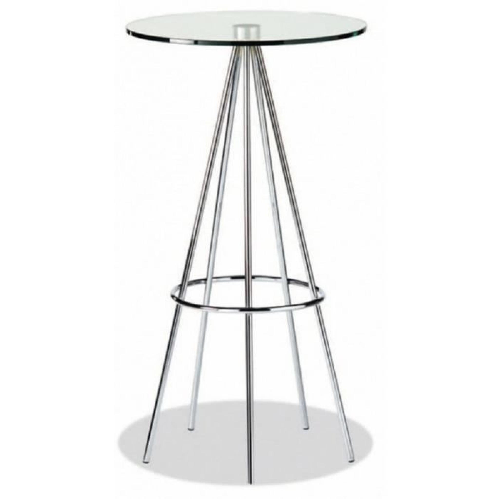 Table bar ronde design en verre et métal chromé - Achat/Vente table ...