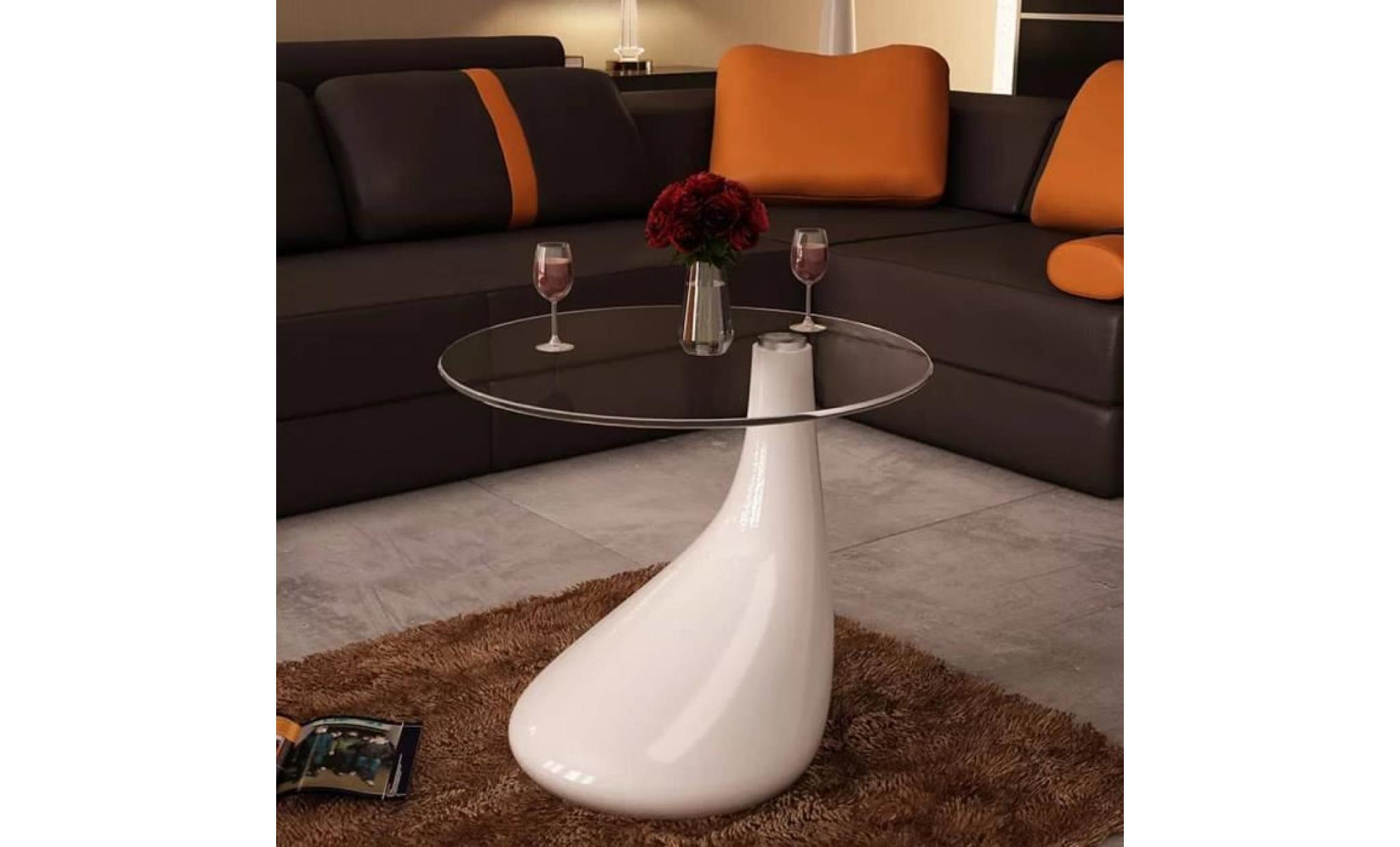 Table Basse Avec Dessus De Table En Verre Rond Blanc Brillant Table Bass Style Contemporain