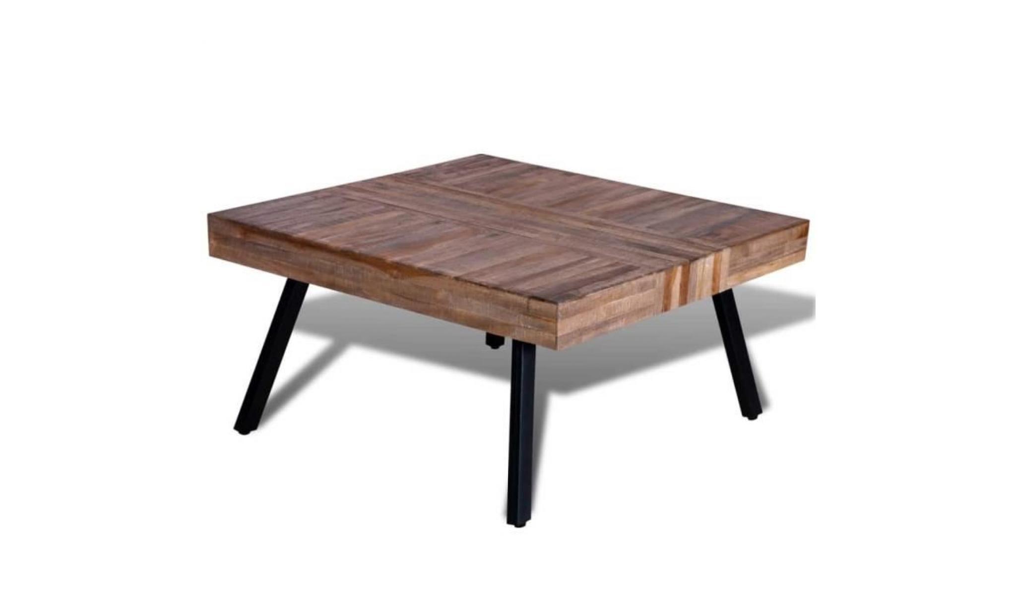 bois table de de teck récupération basse carrée zMVpSGqU