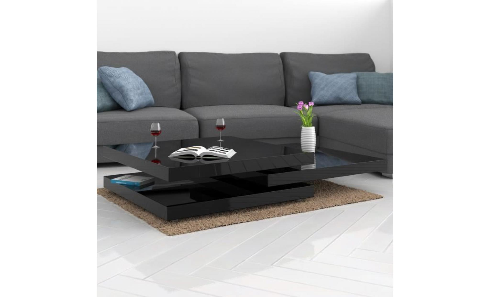 60x60cm Laquée Basse Intérieur Kg Noir Brillante À Moderne Table De Max20 Rotative 360° Charge Salon by7f6g