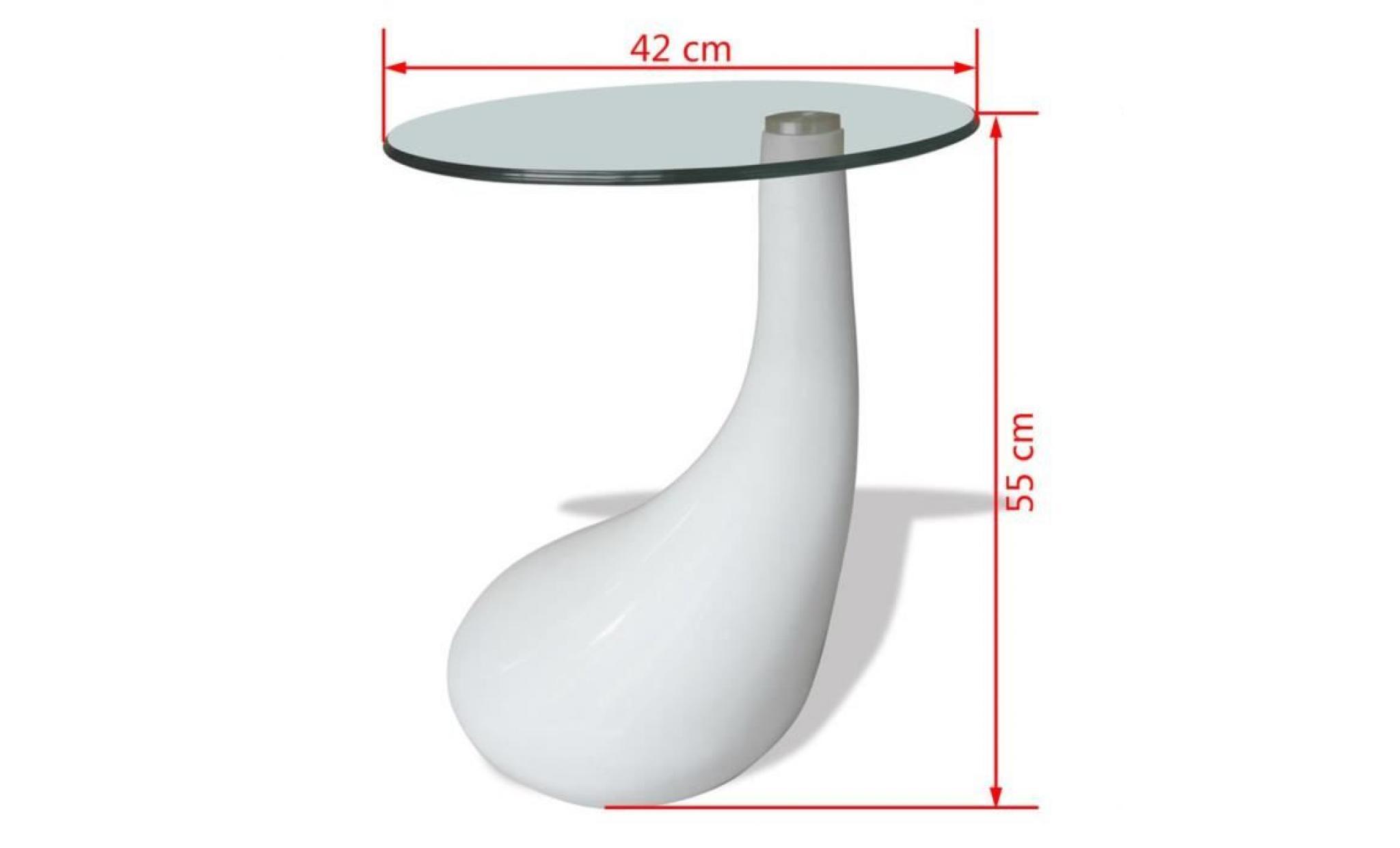 table basse ronde avec dessus de table en verre rond blanc brillant table  basse de salon chambre jardin