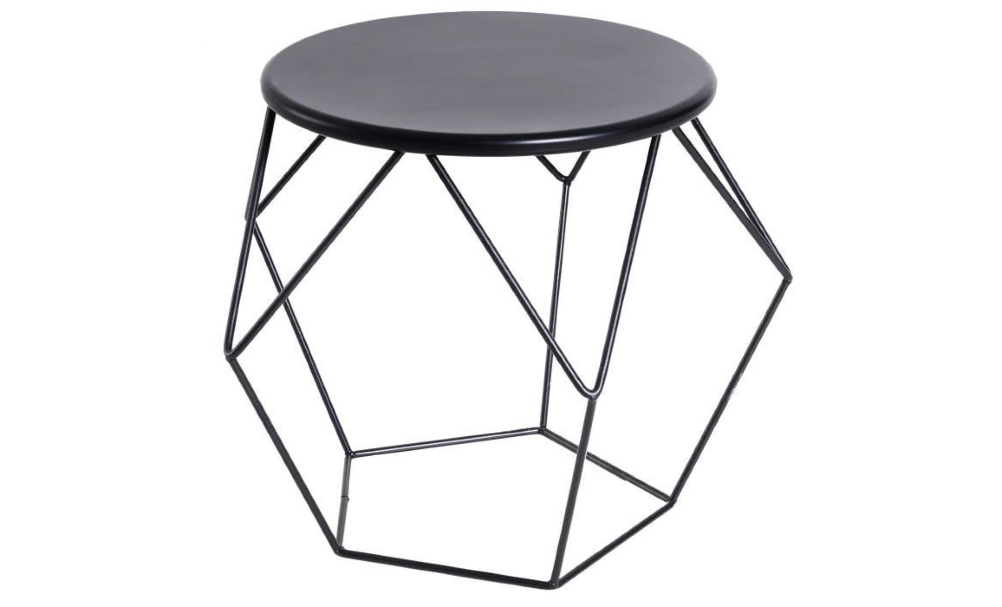 Table Basse Ronde Design Industriel Néo Rétro Dim 54l X 54l X 44h Cm Plateau ø 40 Cm Acier Noir 54x54x44cm Noir
